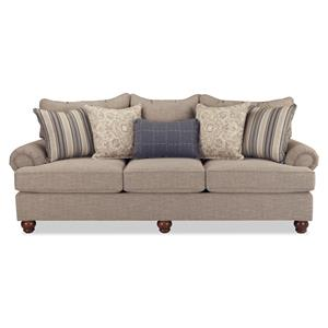 Traditional Sofa with Exposed Wood Feet