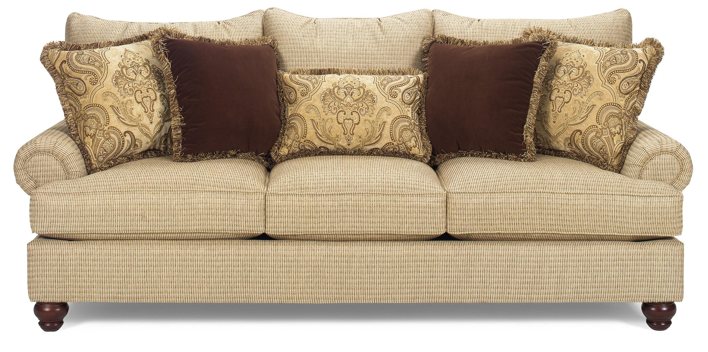 Exposed Wood Sofa ~ Traditional sofa with exposed wood feet by craftmaster