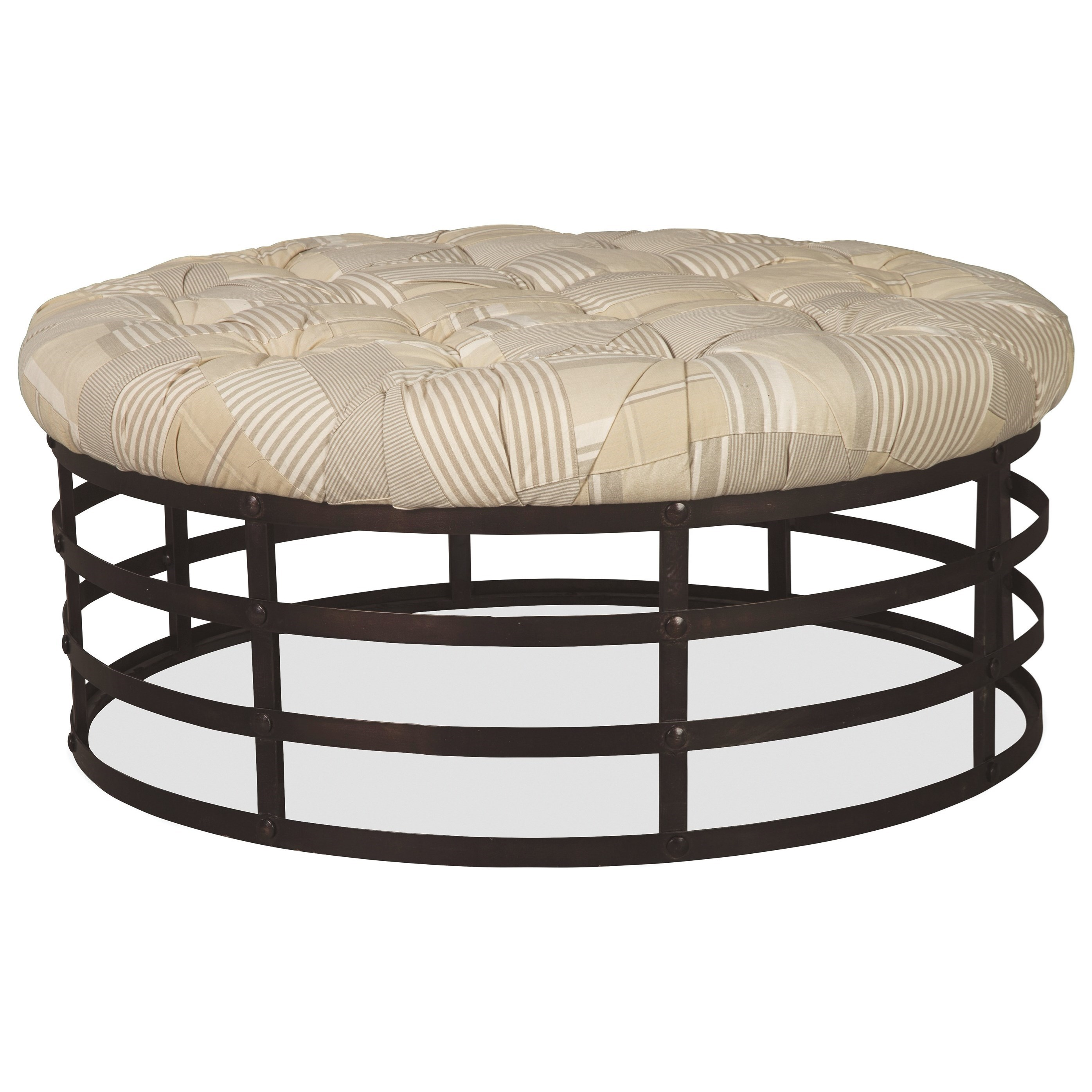 Sensational Round Cocktail Ottoman With Forged Steel Base And Button Short Links Chair Design For Home Short Linksinfo