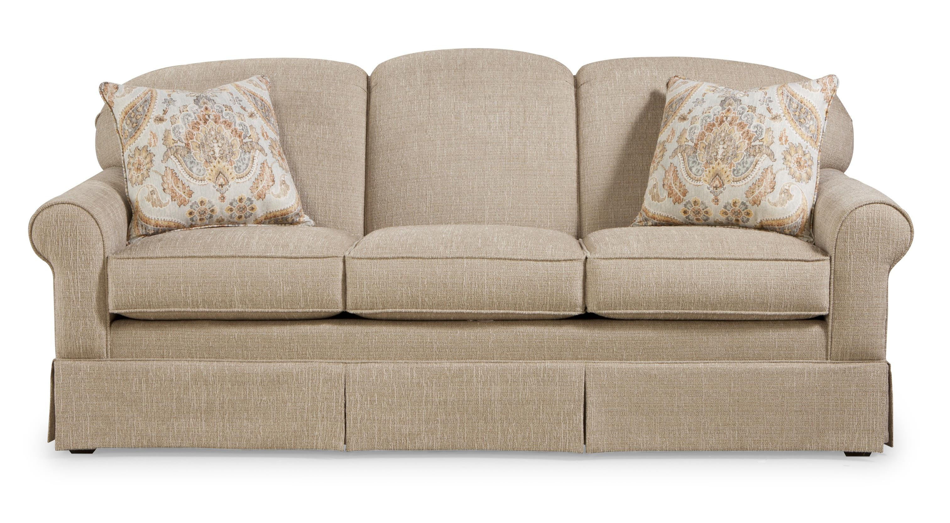 Merveilleux Casual Sofa With Tight Arched Back And Skirt