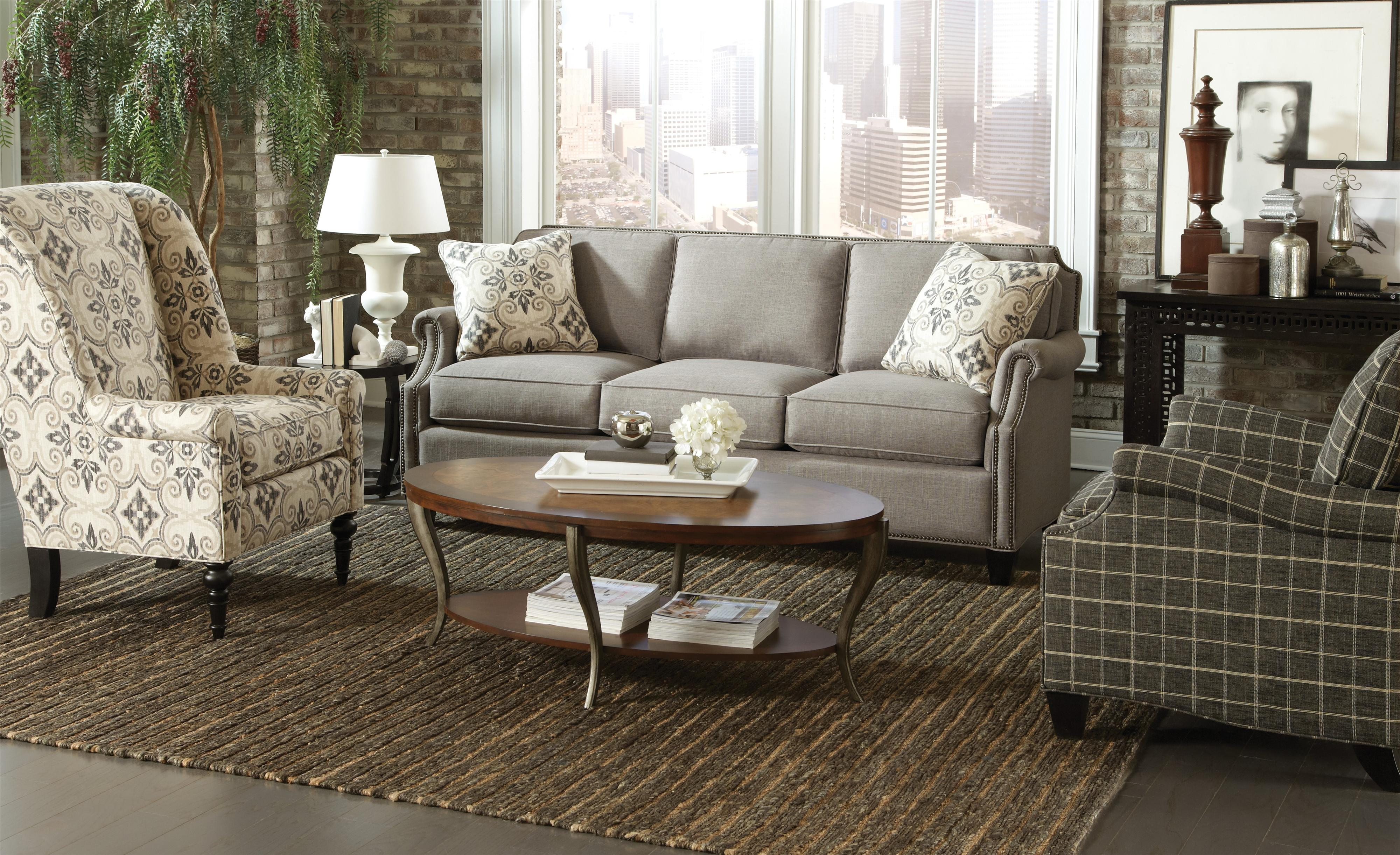 Transitional Sofa with Clipped Corner Shape and Nailhead Trim by