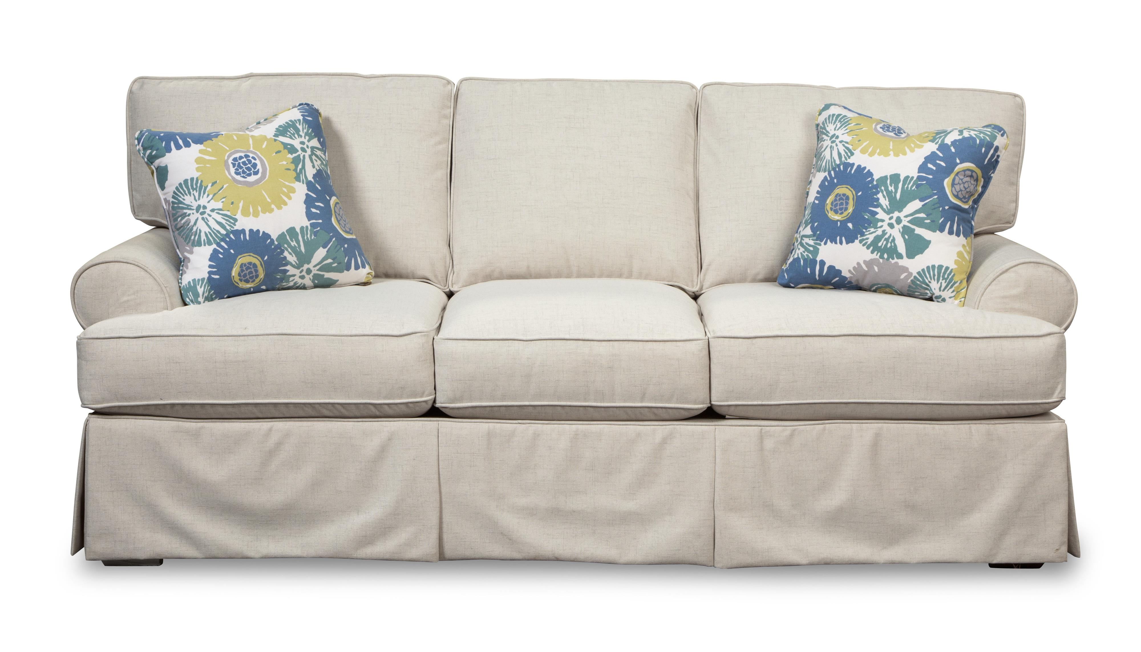Skirted sleeper sofa with faux slipcover look by craftmaster wolf and gardiner wolf furniture Sleeper sofa covers