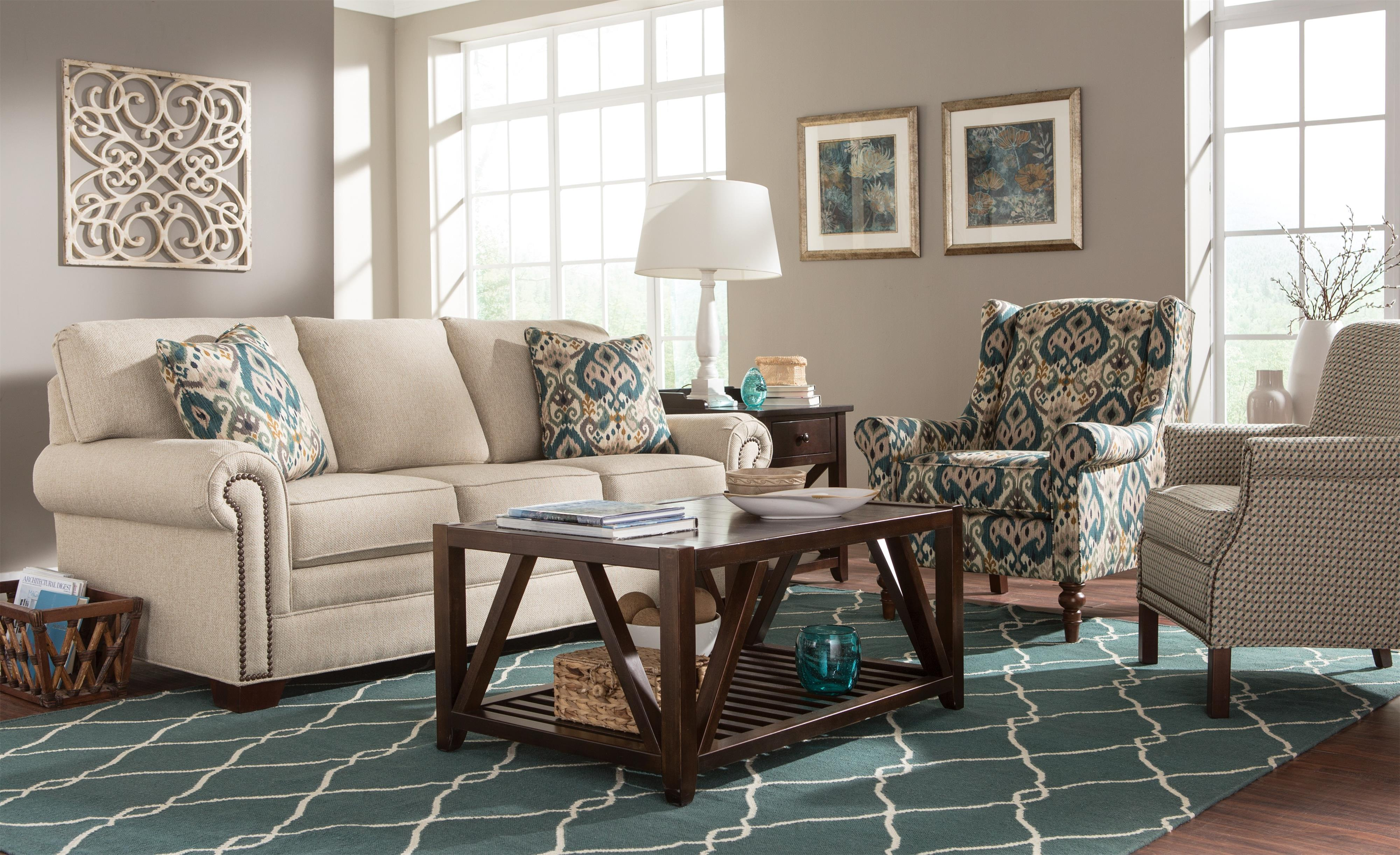 Transitional Rolled Arm Accent Chair with Nailhead Trim by
