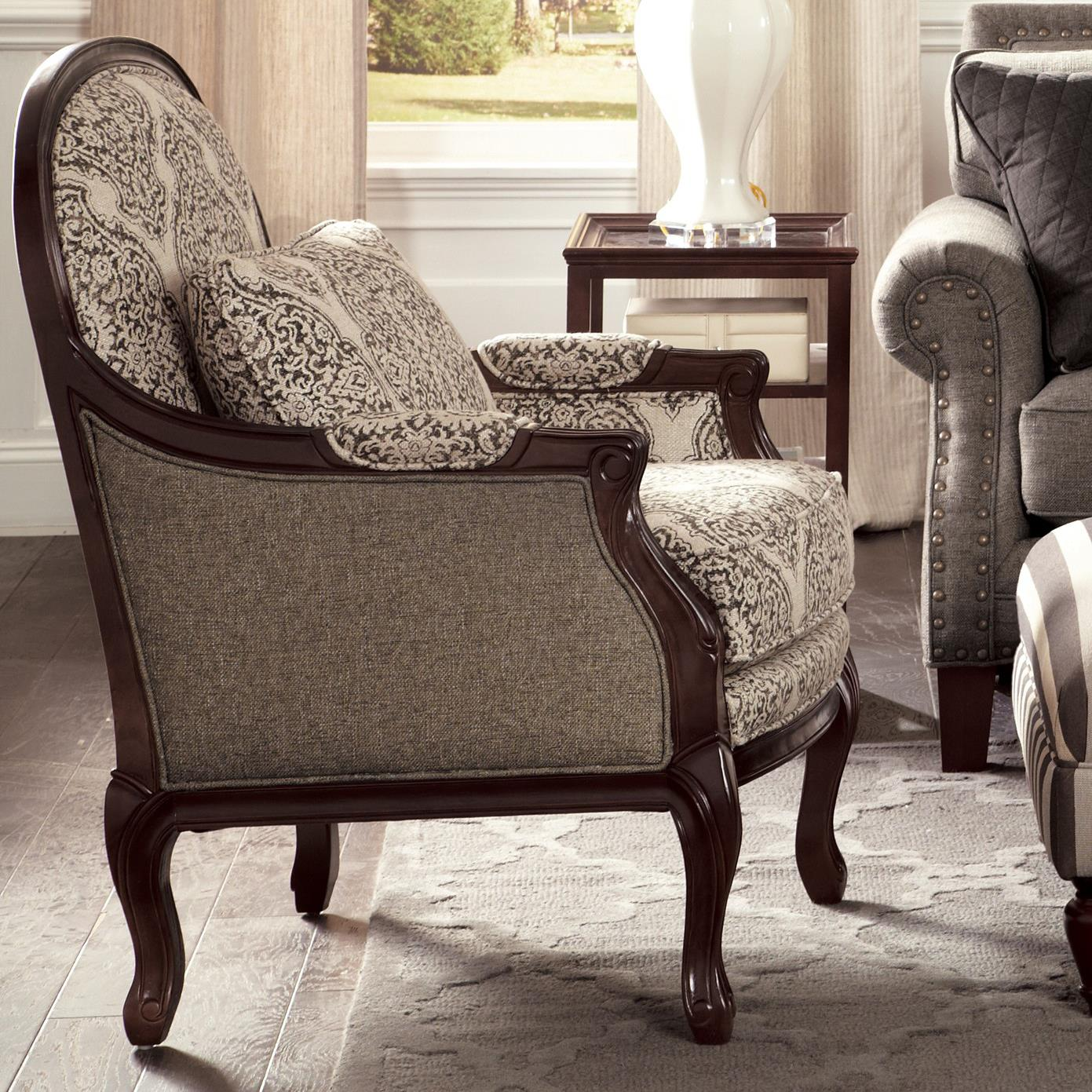 Traditional Chair with Cabriole Legs and Exposed Wood Frame by ...