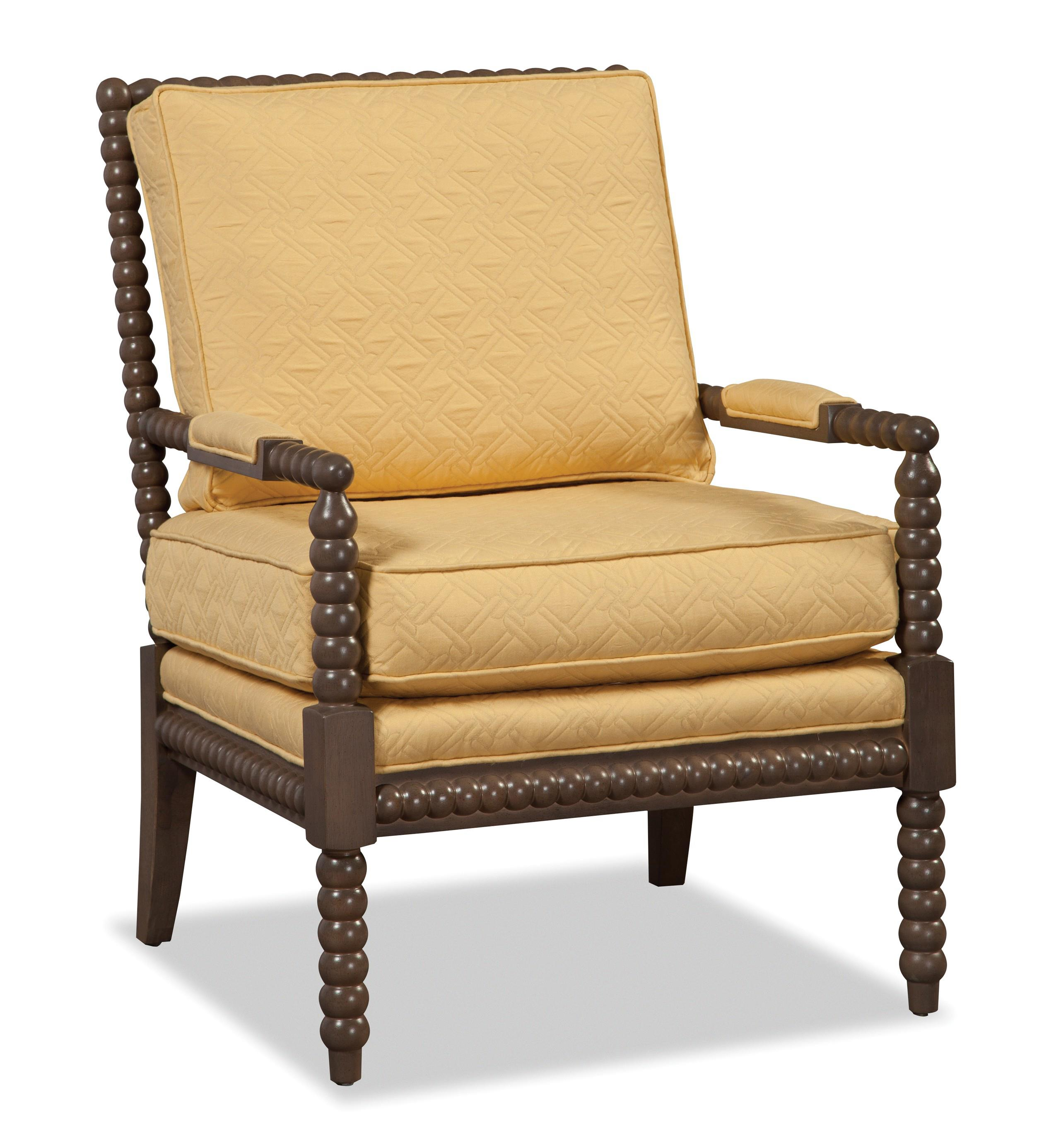 Traditional Chair With Spool Turned Wood Frame By