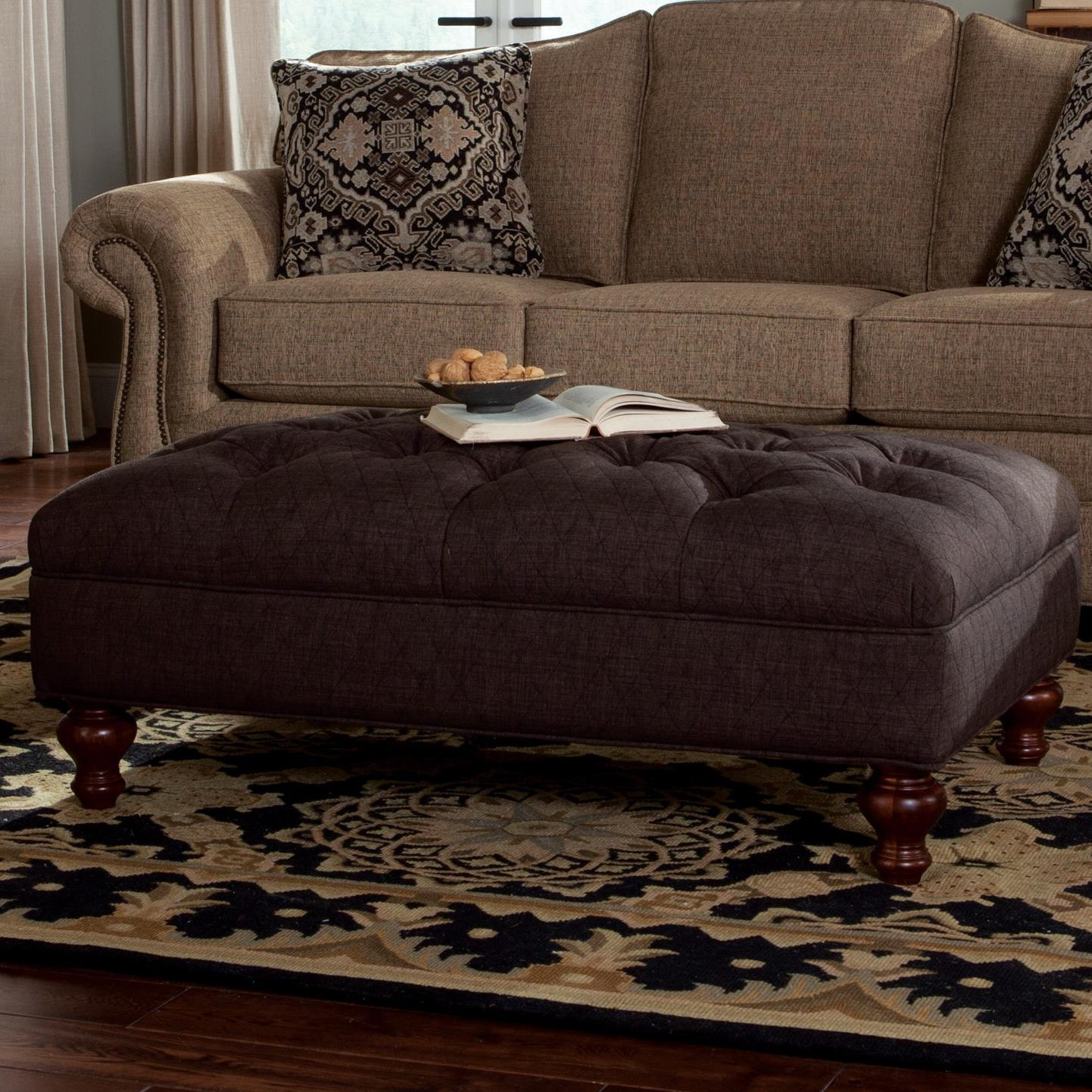 Superior Extra Large Tufted Ottoman With Bun Wood Feet
