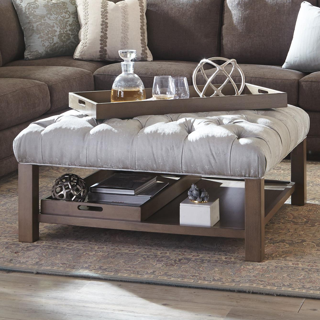 Cocktail ottoman with button tufting and storage trays by craftmaster wolf and gardiner wolf Ottoman coffee table trays