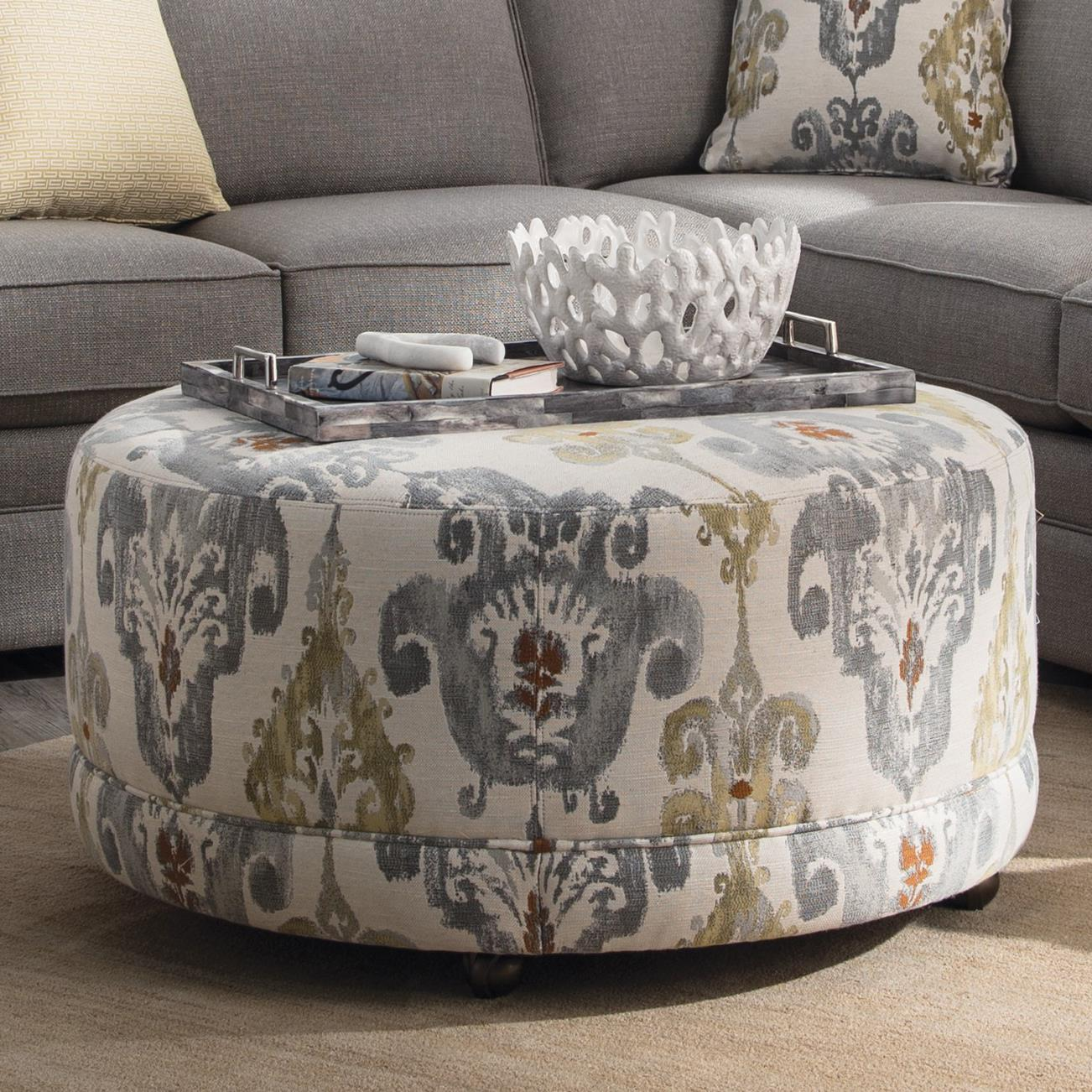 Round Contemporary Ottoman With Casters By Craftmaster