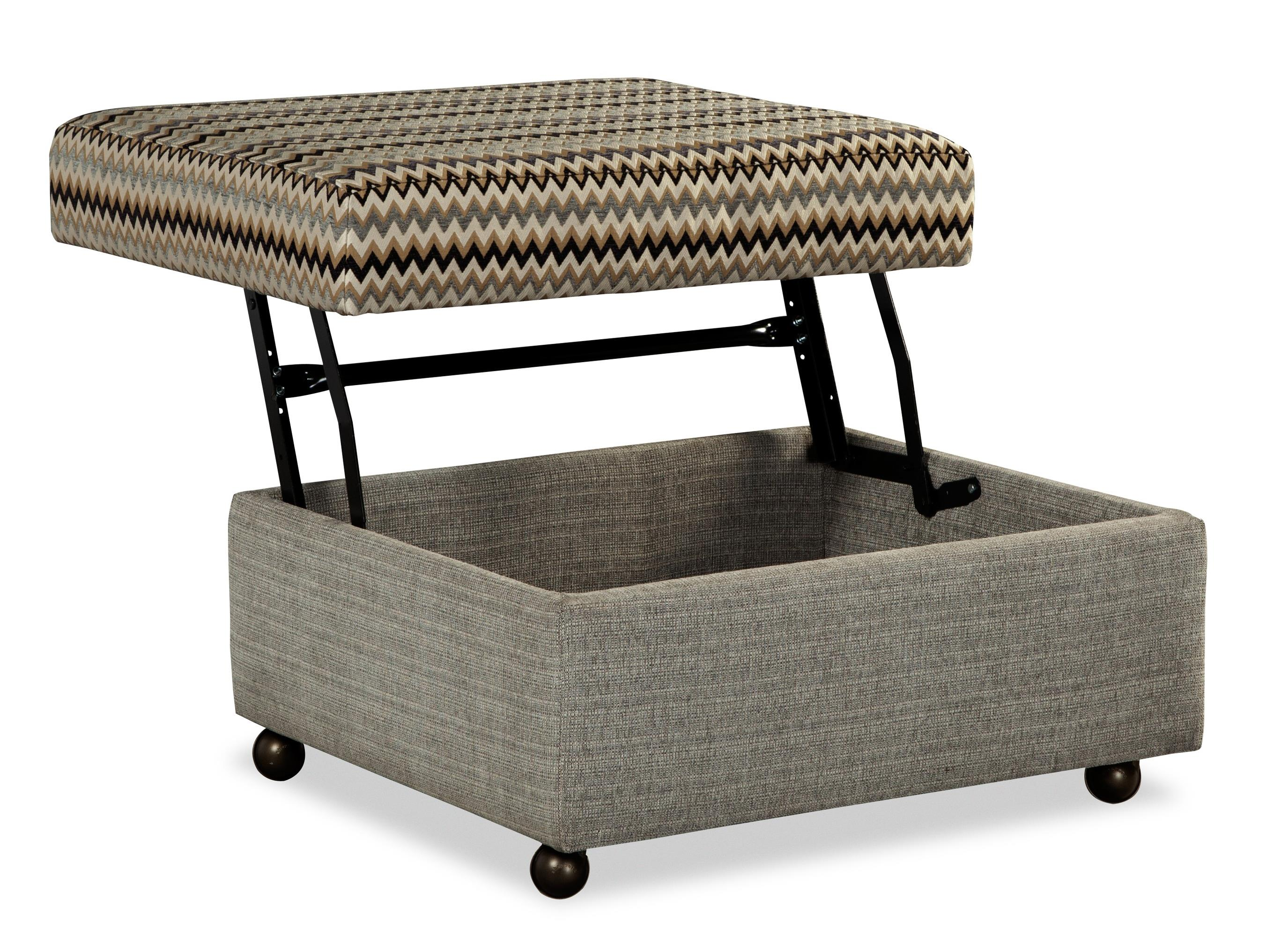 Customizable Lift Top Storage Ottoman With Casters