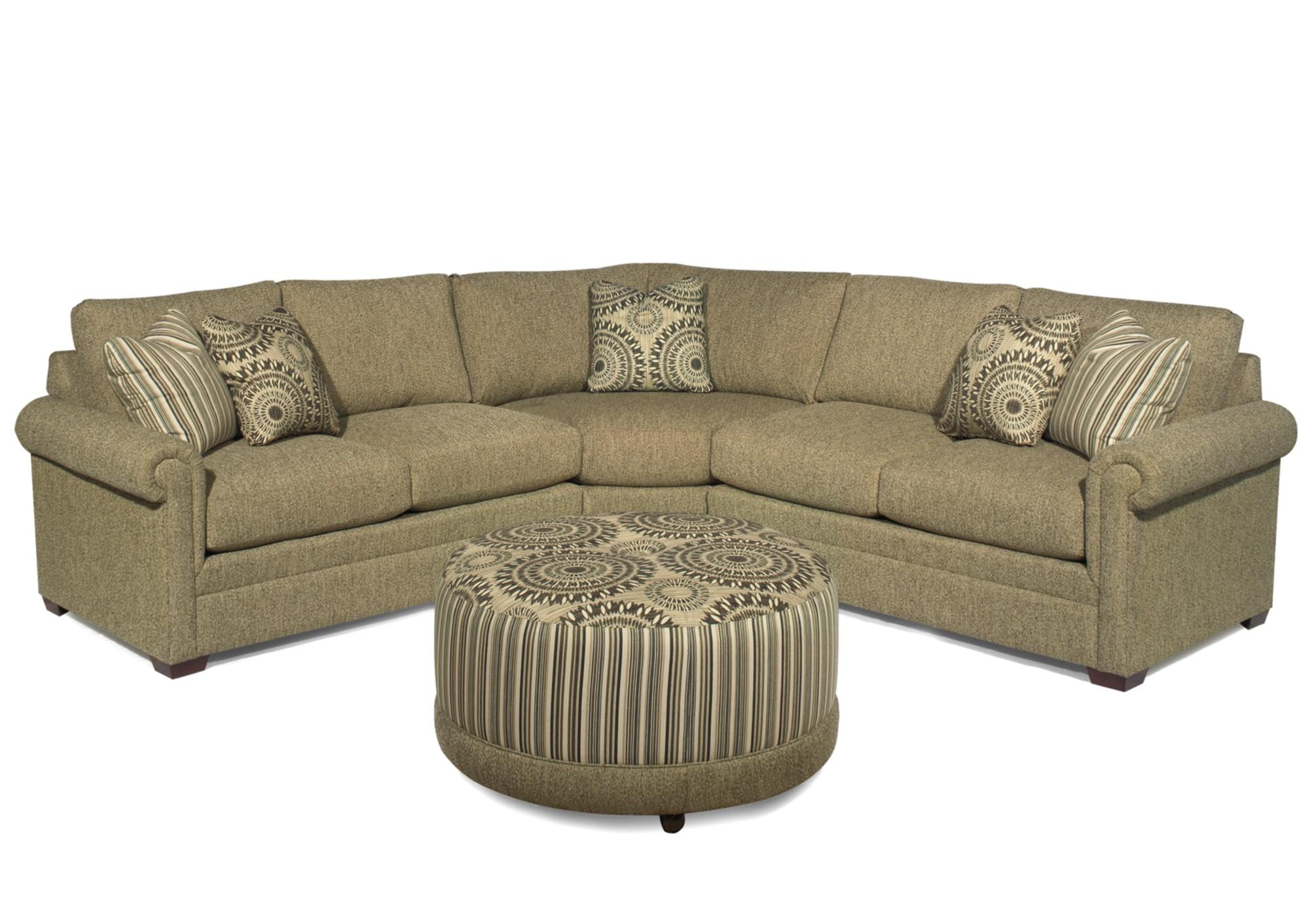 Customizable 3 Piece Sectional With Pie Wedge By