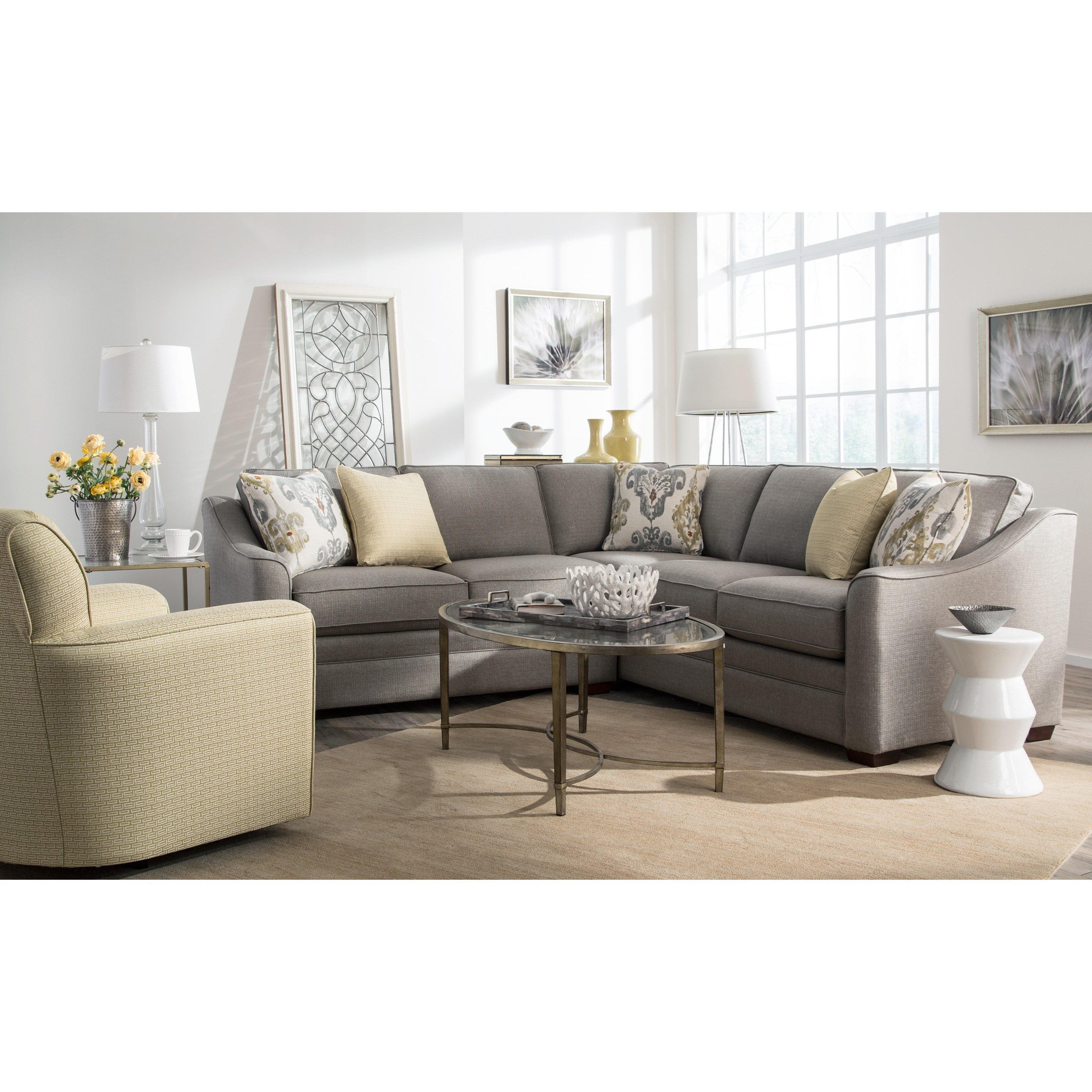 Two Piece Customizable Corner Sectional Sofa with Right Return by