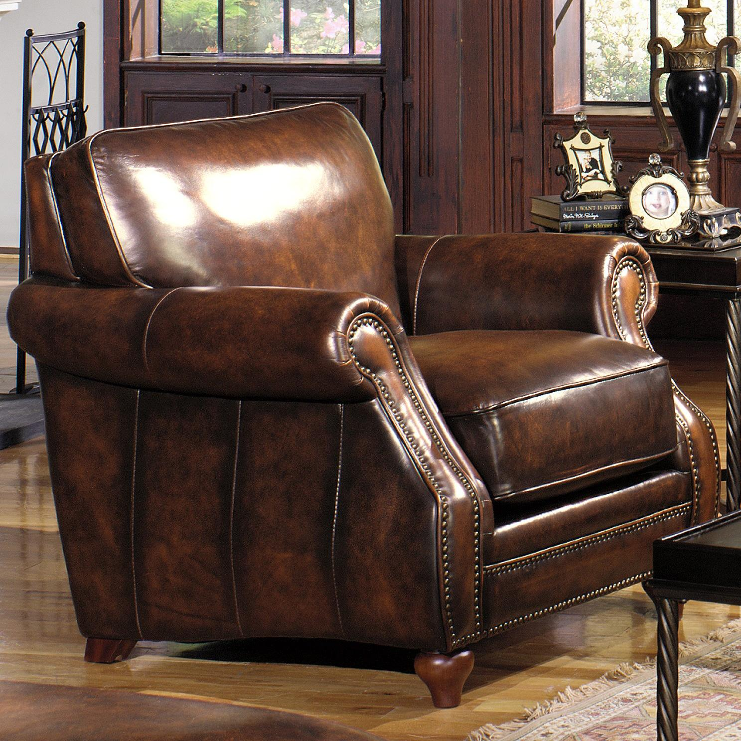 Charming Traditional Leather Stationary Chair With Rolled Arms And Nailhead Trim