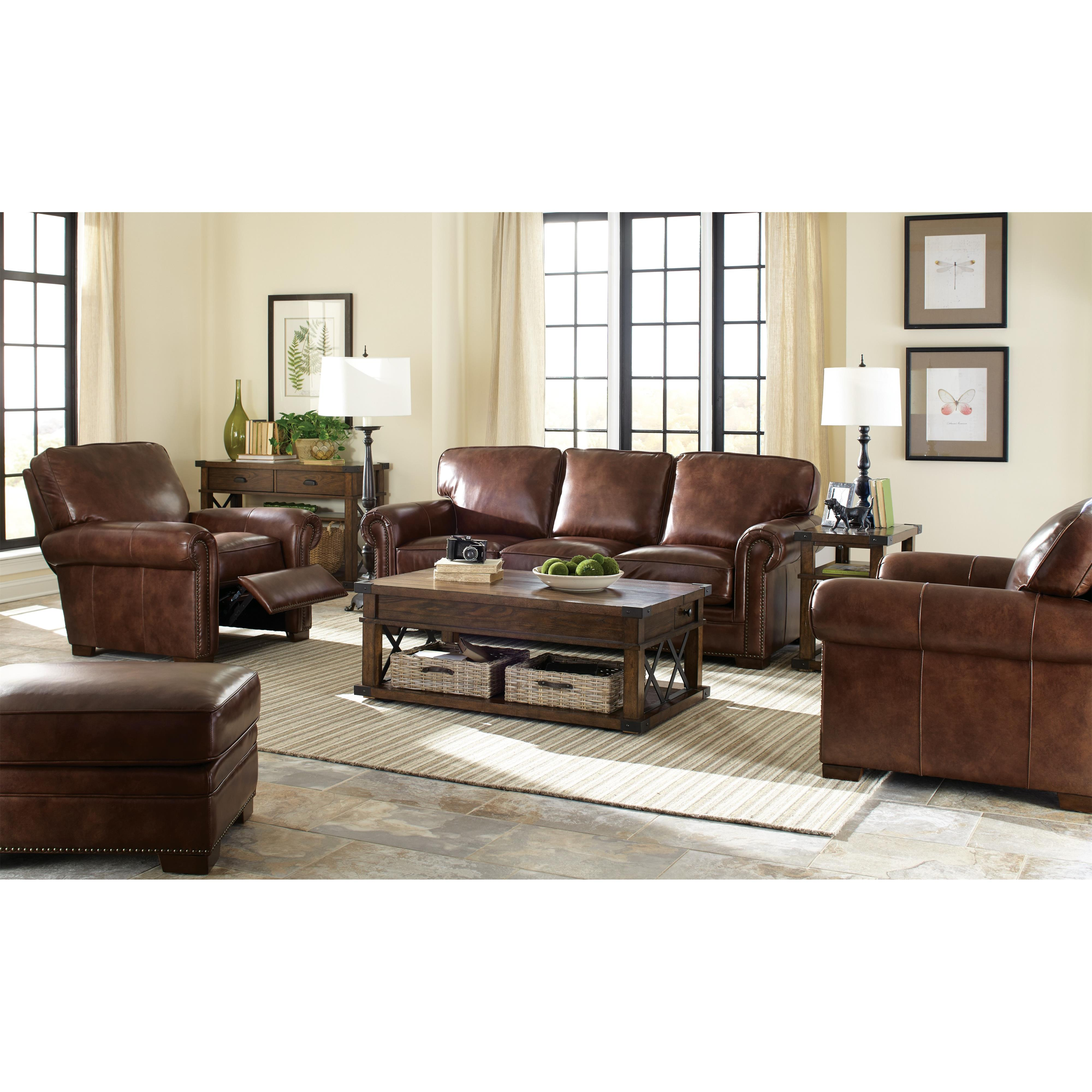Leather Sofa with Rolled Arms and Nailheads by Craftmaster