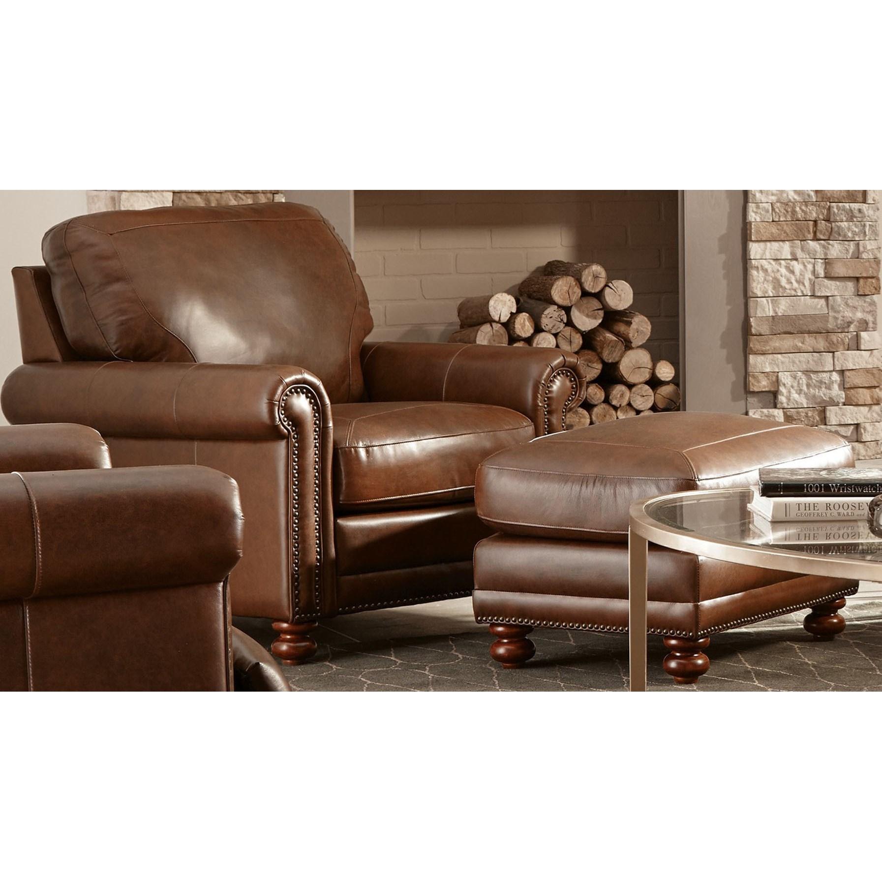 Superior Genuine Leather Chair U0026 Ottoman
