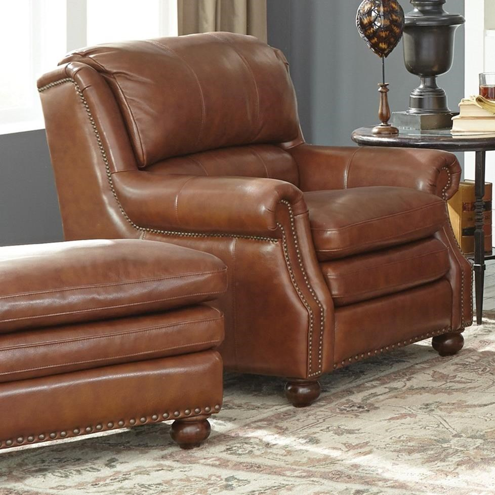 Beau Leather Chair And Ottoman Set