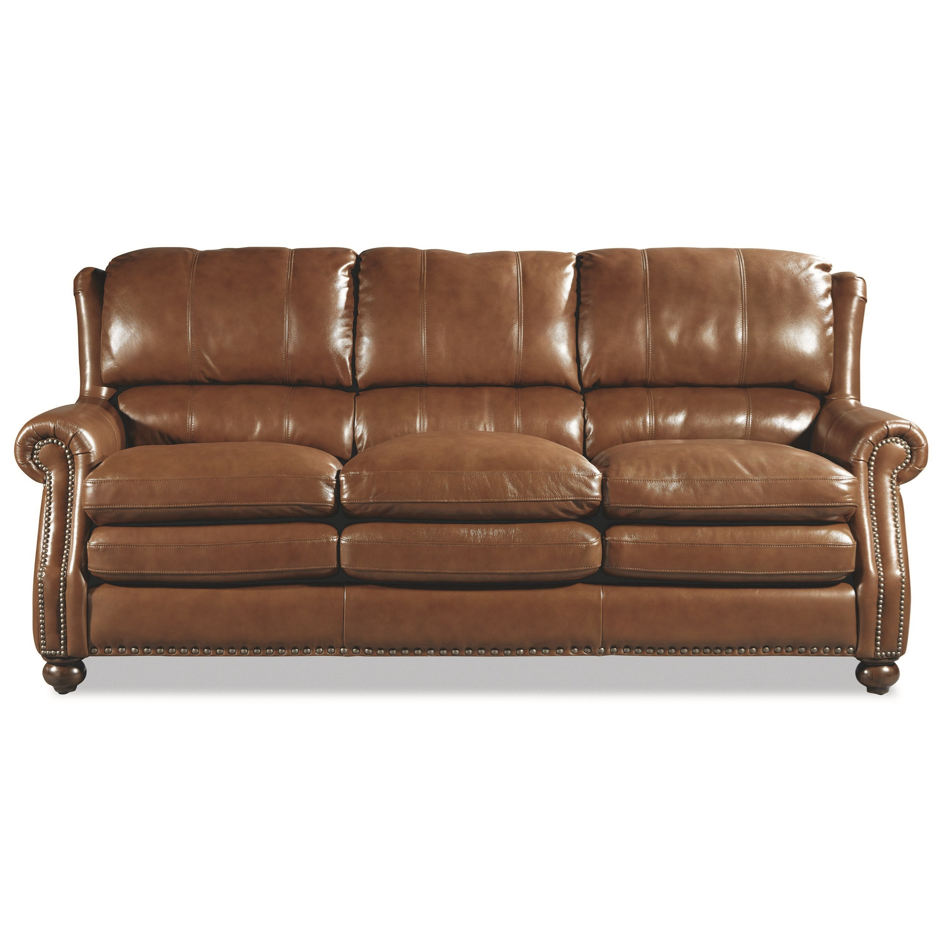 Italian Leather Sofa With Wood Trim: Traditional Leather Sofa With Bustle Back And Nailhead
