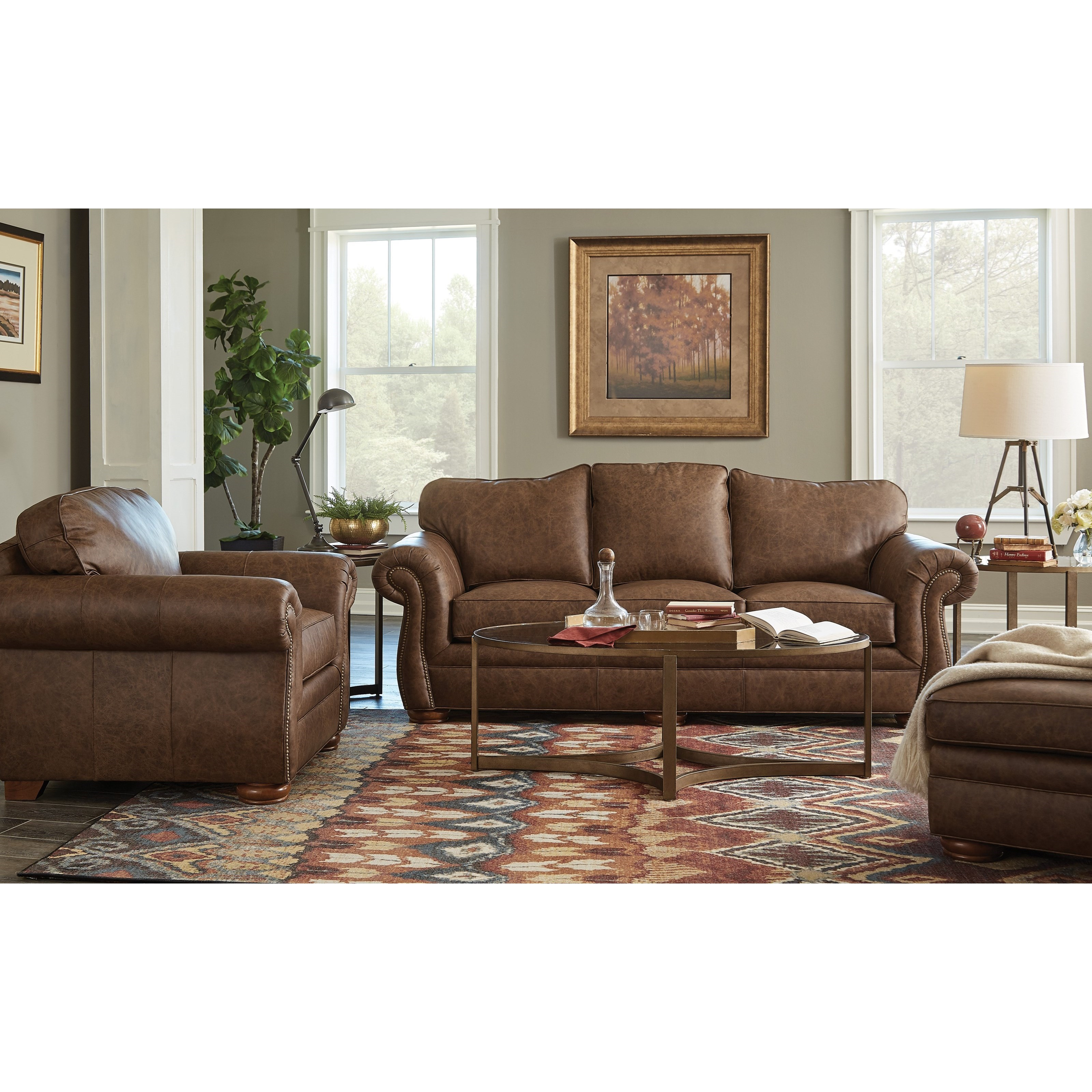 Traditional Leather Camelback Sofa with Nailhead Studs by ...
