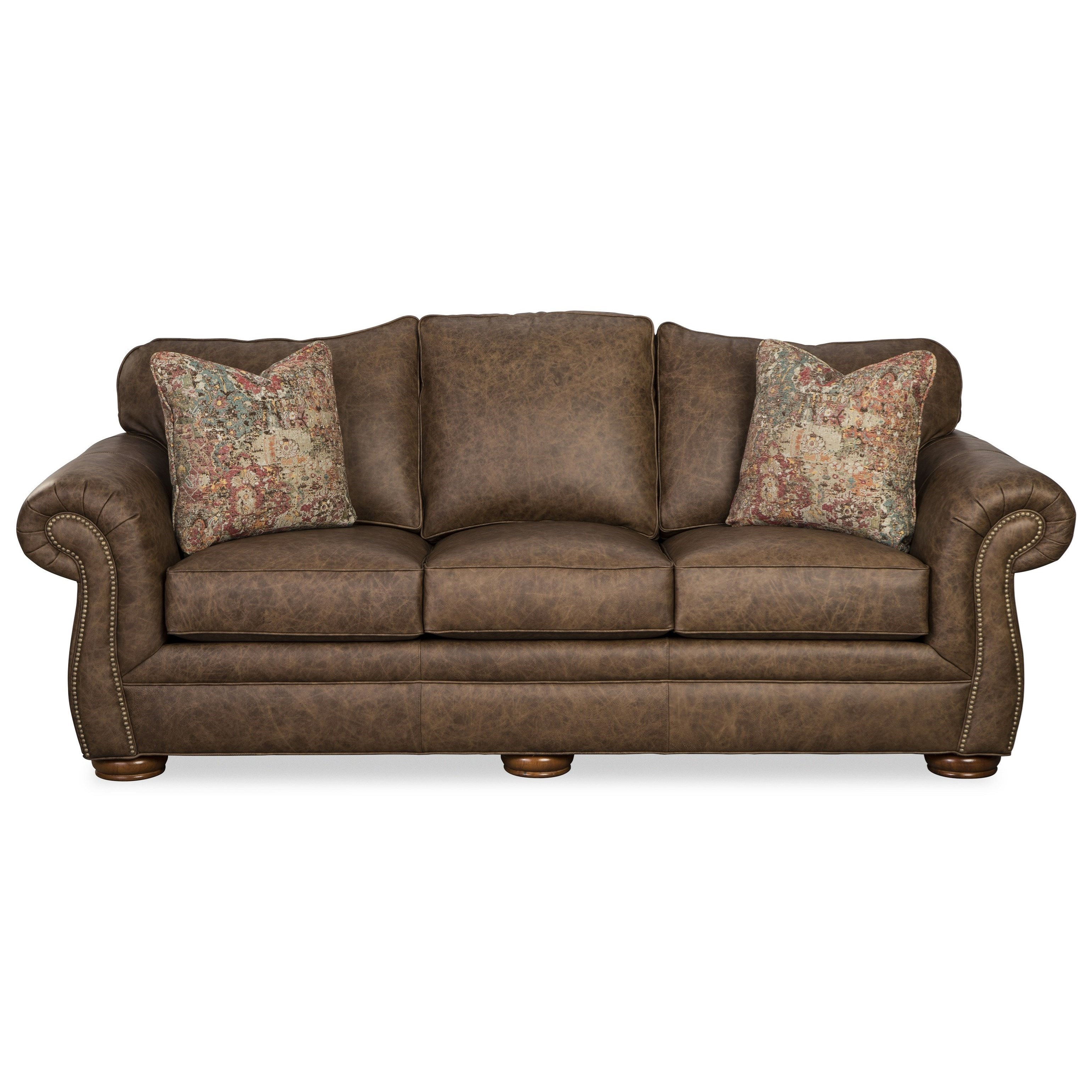 Traditional Leather Camelback Sofa with Nailhead Studs and ...