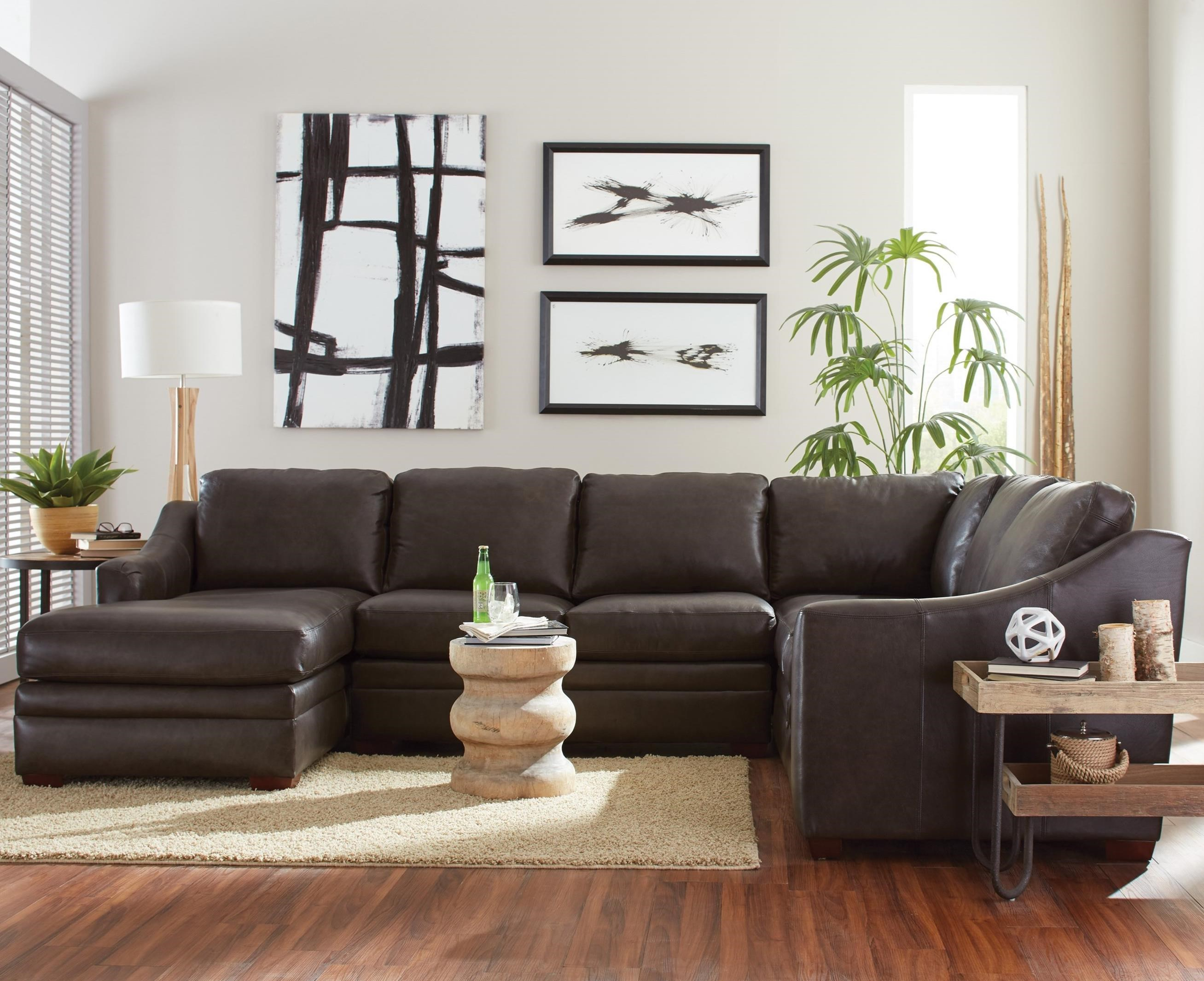 Customizable 3 Piece Leather Sectional Sofa With 1 Power Recliner