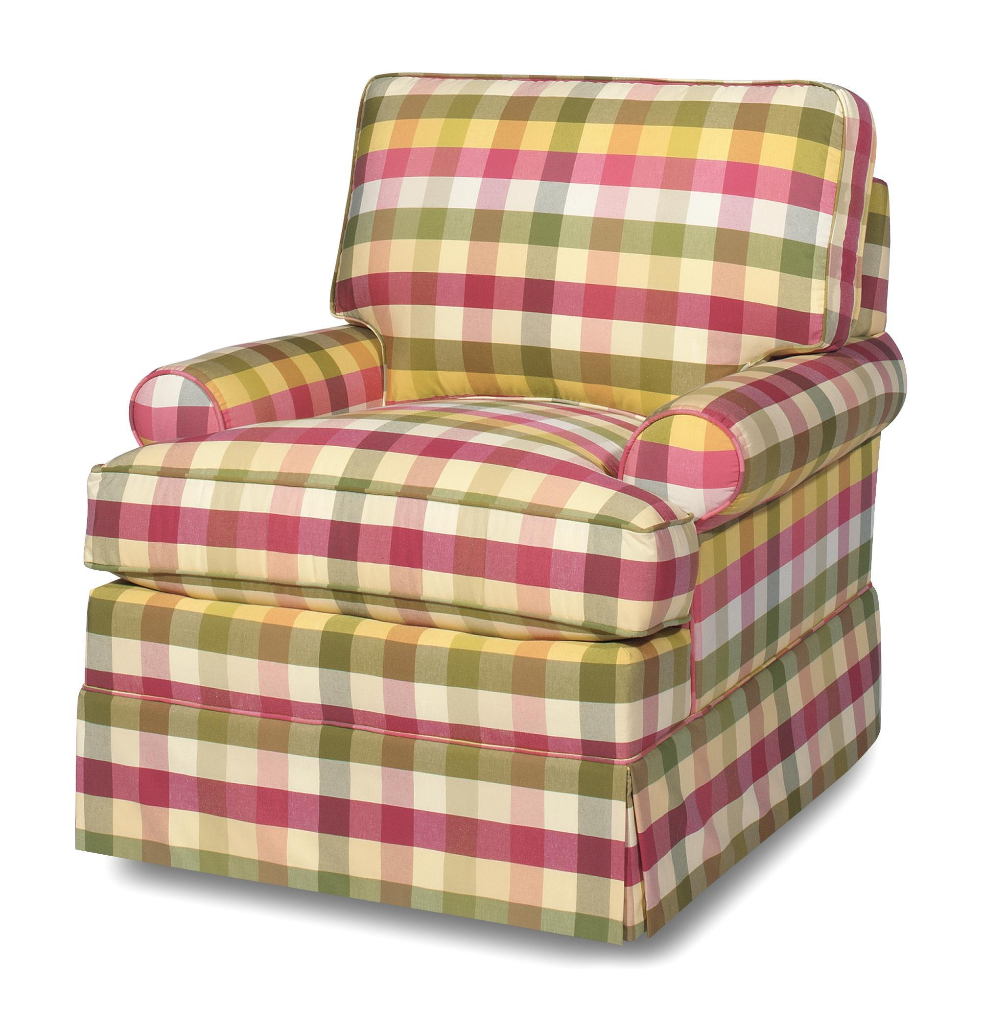 Cottage Style Swivel Chair with Skirted Base by Craftmaster Wolf