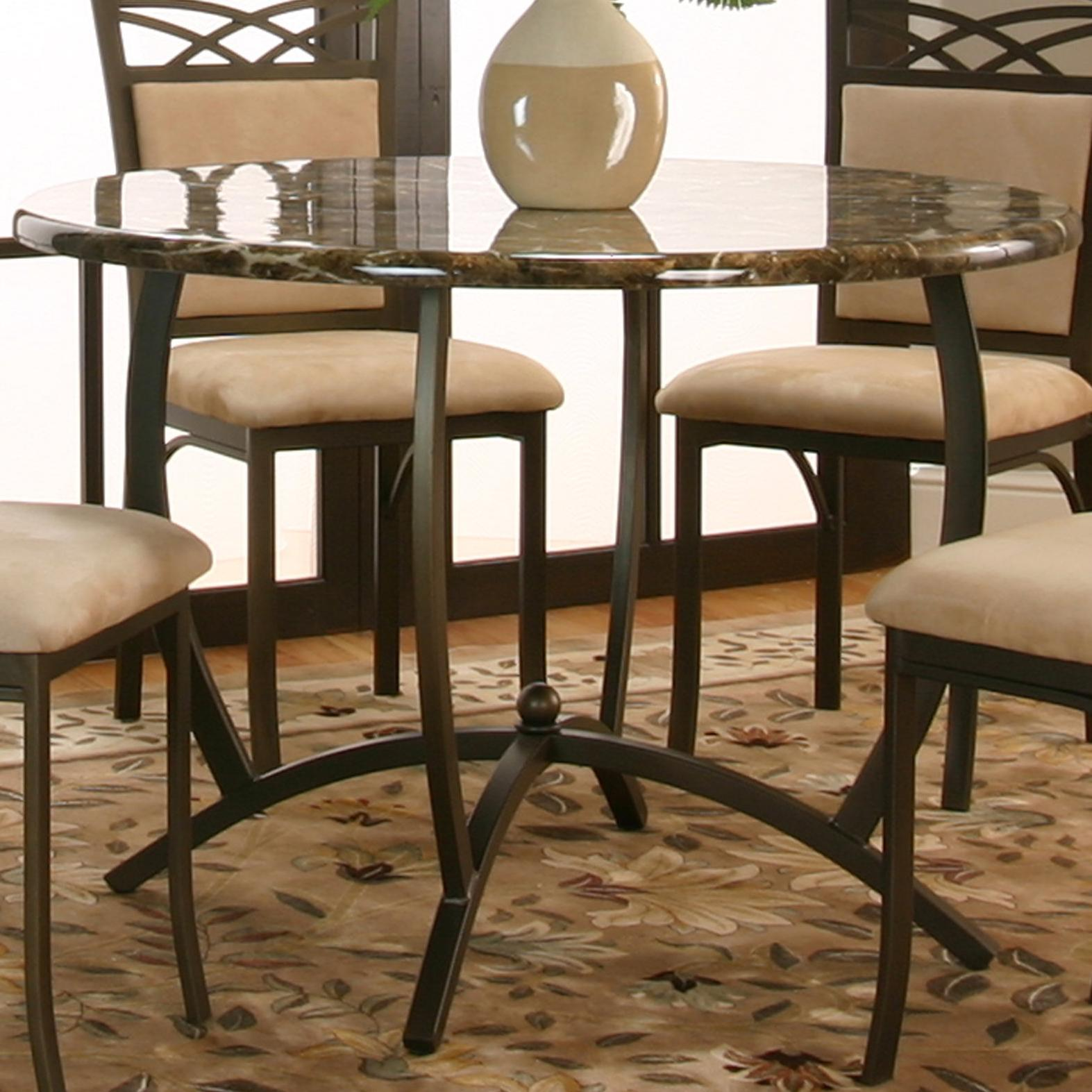 Round Dinner Table w Faux Marble Top by Cramco Inc