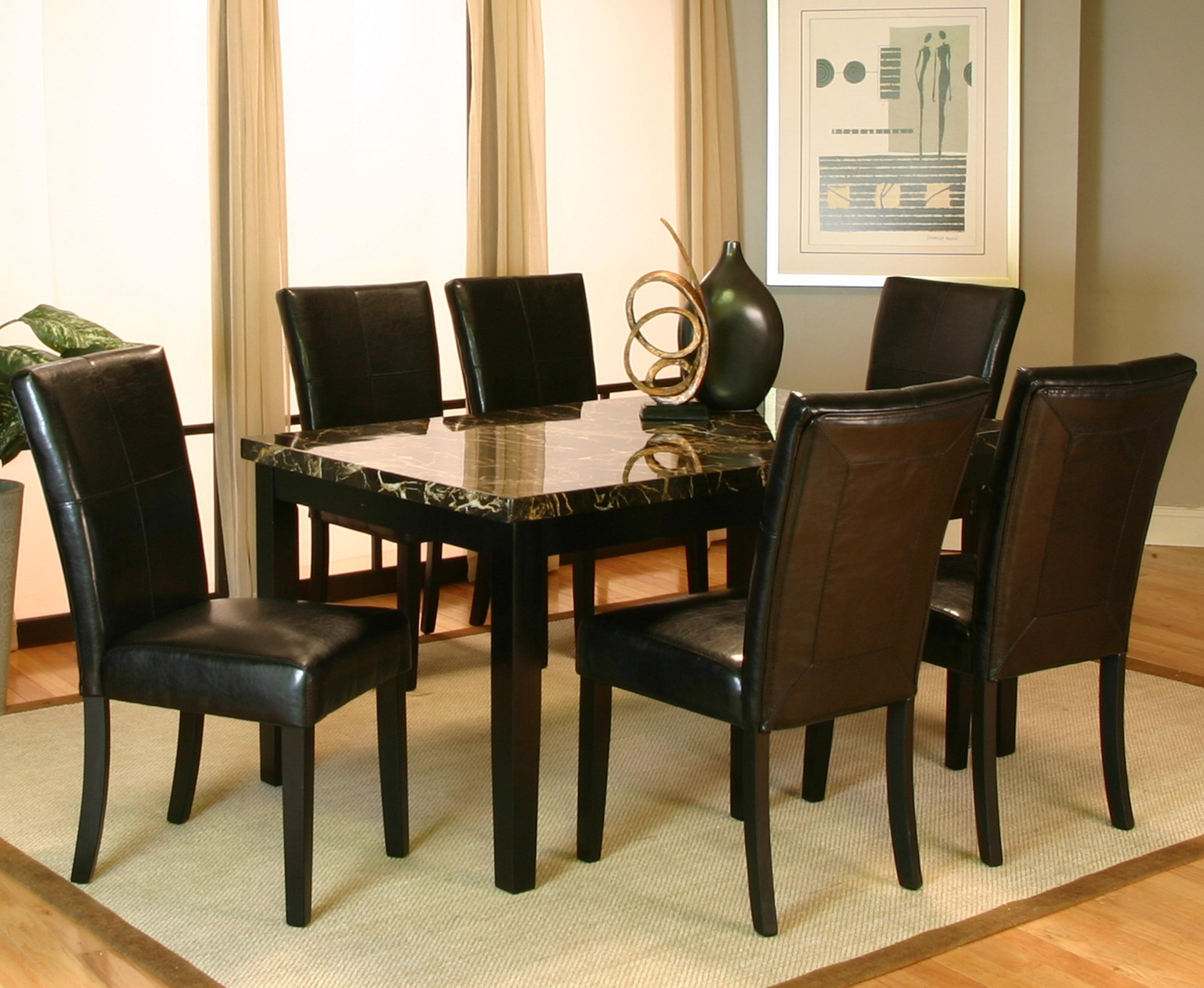 7 Piece Dining Leg Table And Side Chair Set