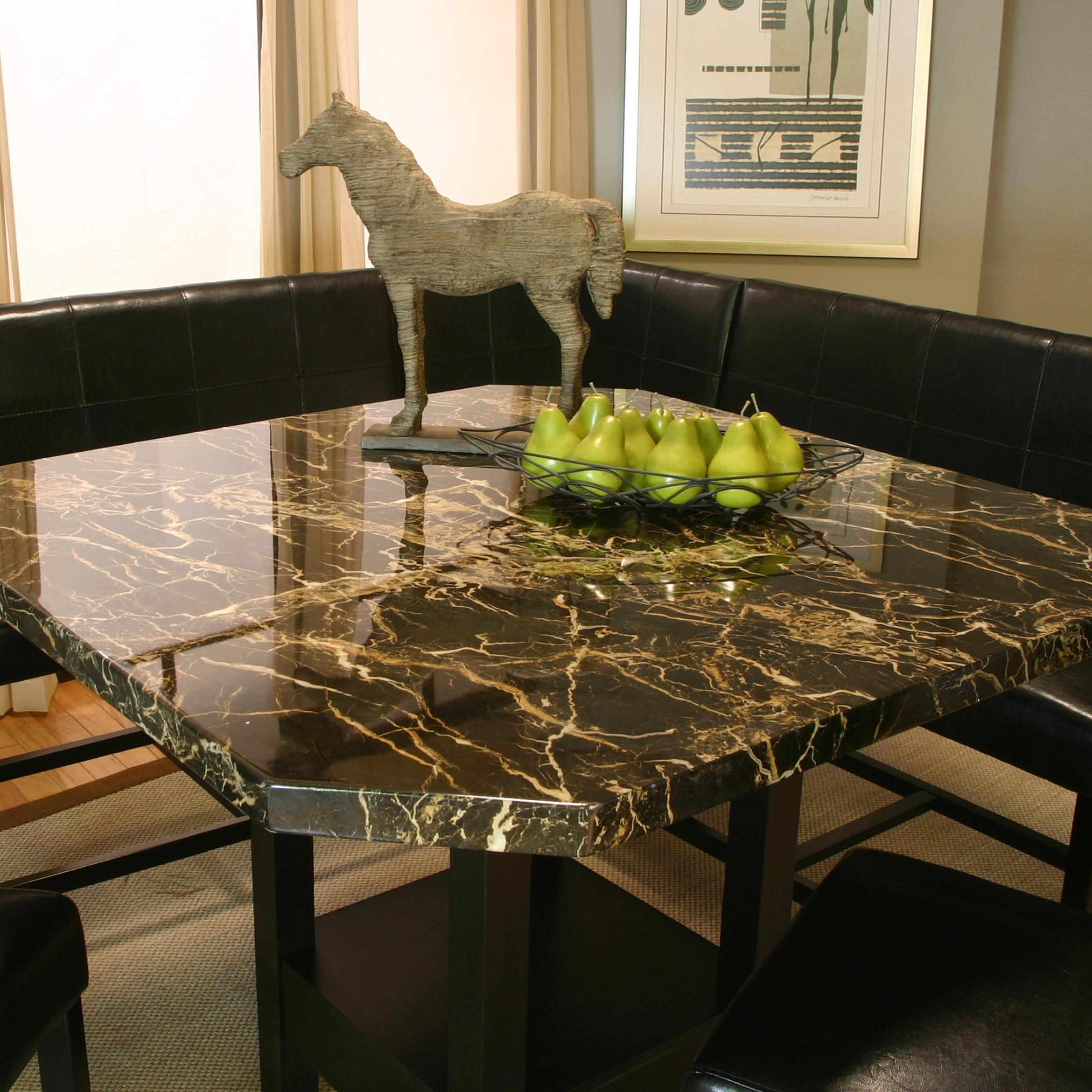 Square Clipped Corner Pub Table W/ Faux Marble Top
