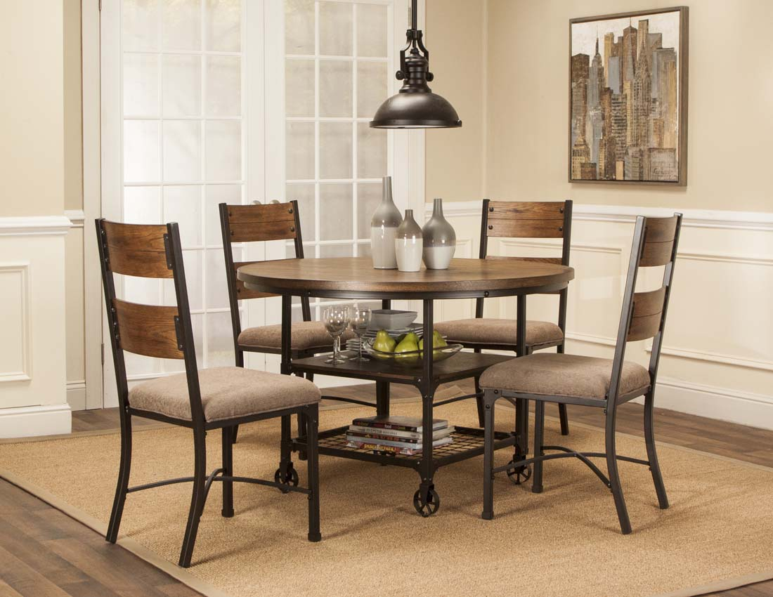 Wonderful 5 Piece Metal And Wood Dining Set