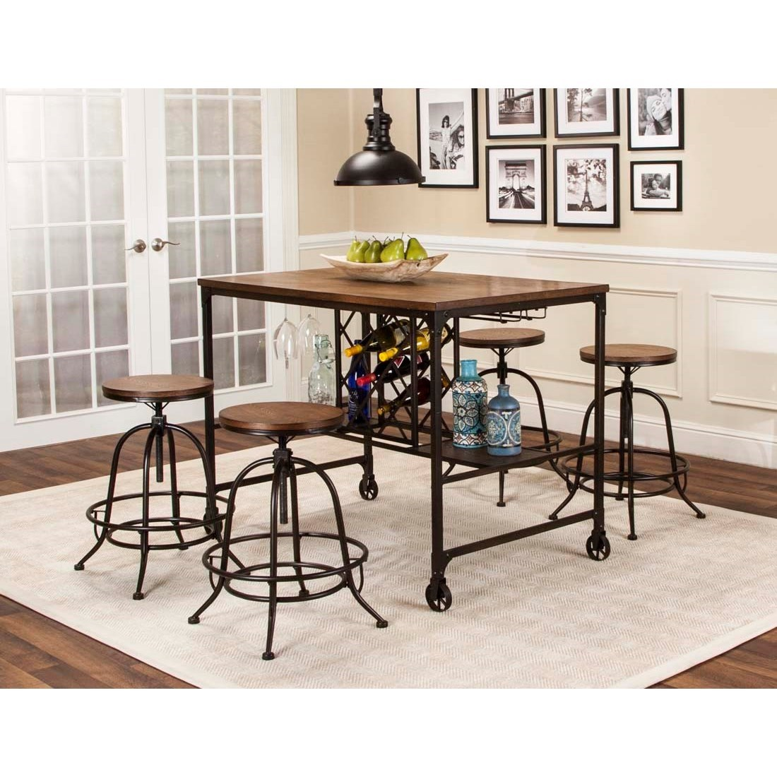 5 piece counter height storage table and swivel stool dining set