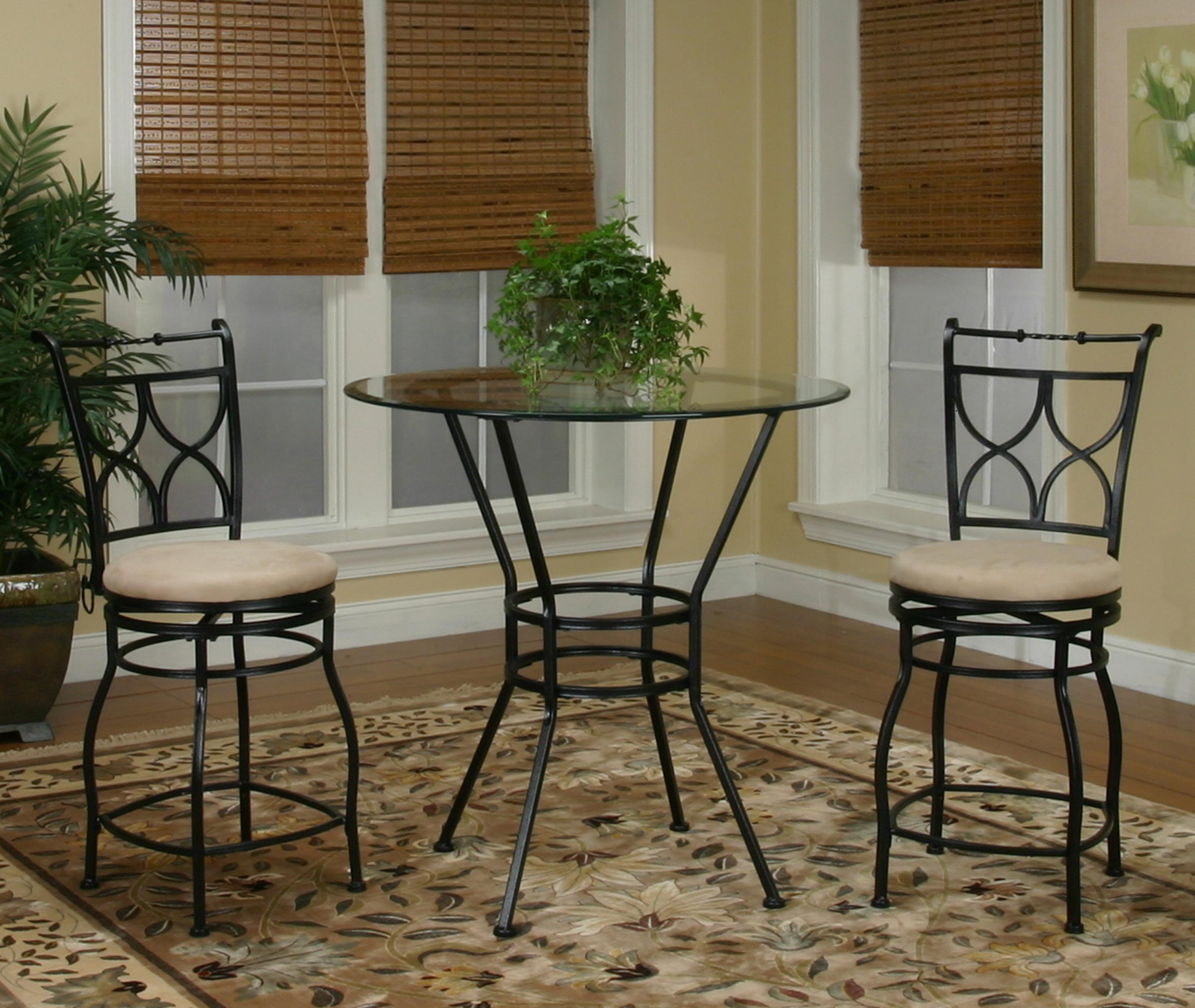 3 Piece Glass Top Metal Pub Set with X Back Swivel Stools by Cramco