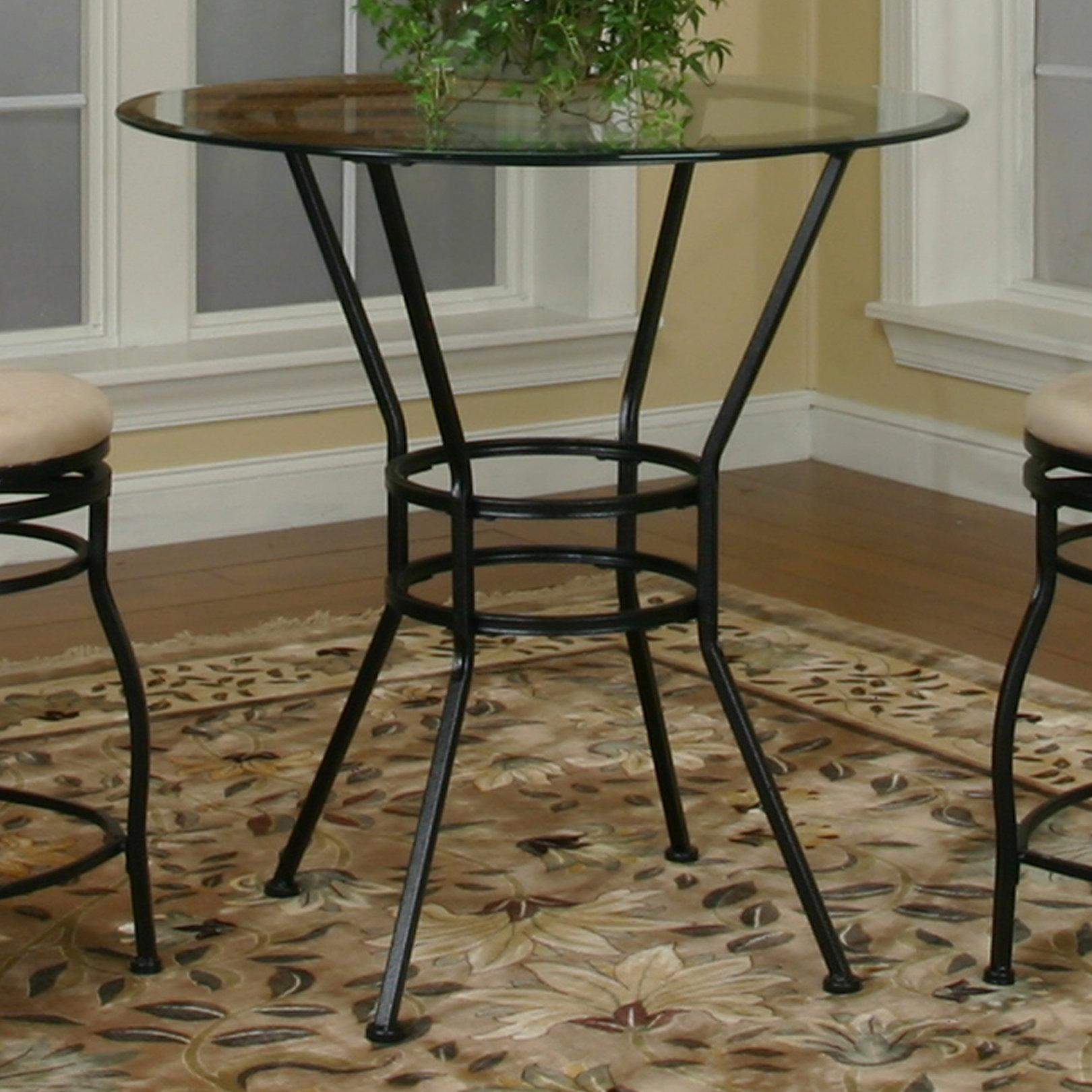 Amazing Round Glass Pub Table W/ Textured Black Pedestal Base