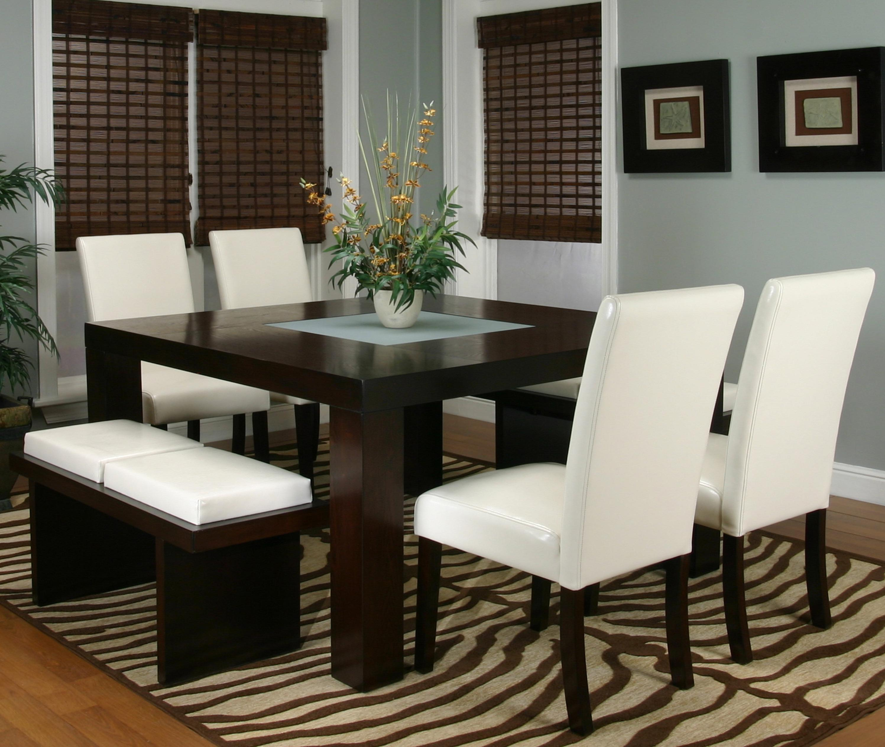 Square Dining Table with Frosted Glass Insert by Cramco Inc