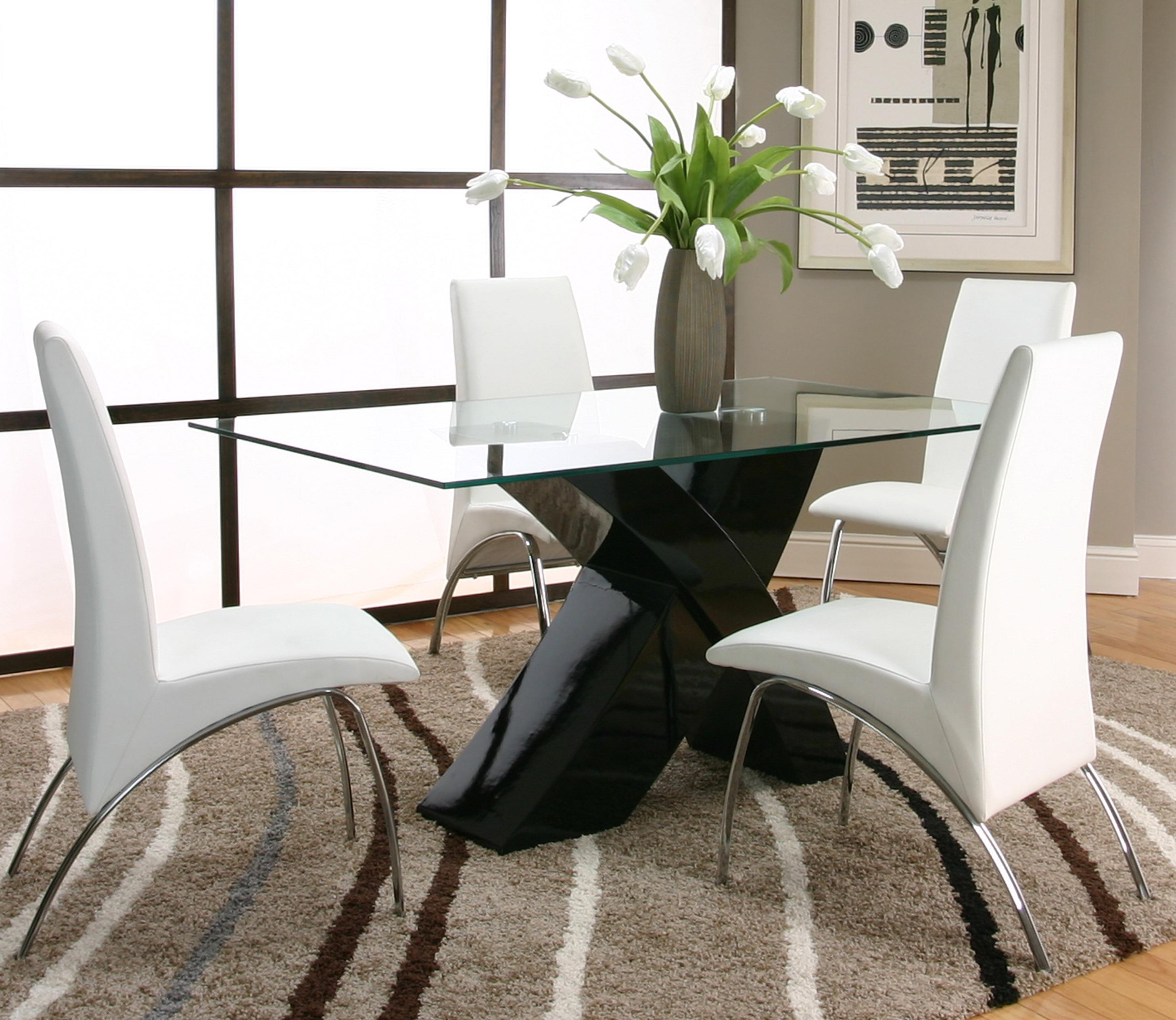 5 Piece Rectangular Glass Top Table With Black Base And White Chairs