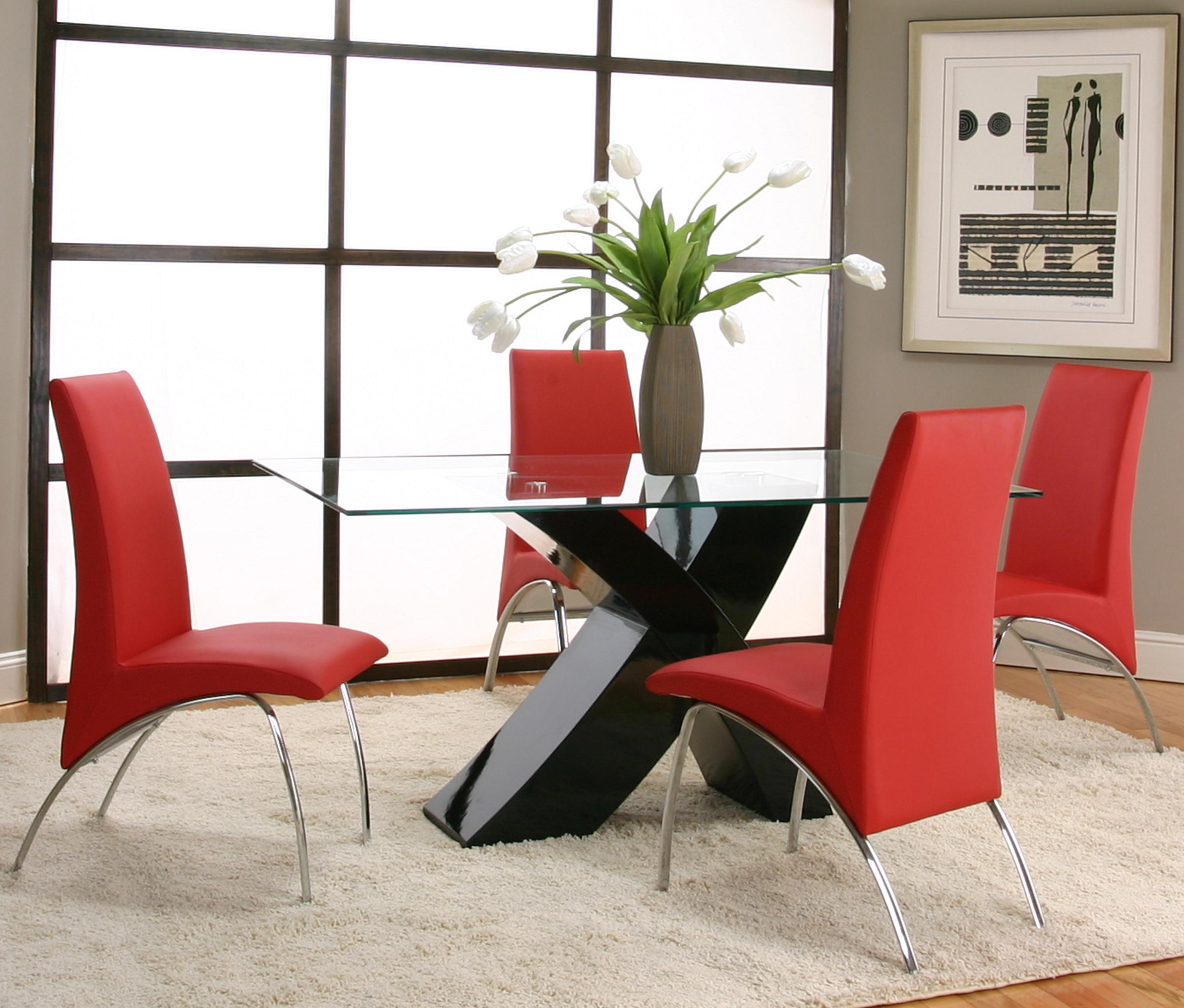 5 Piece Rectangular Glass Top Table with Black Base and Red Chairs ...