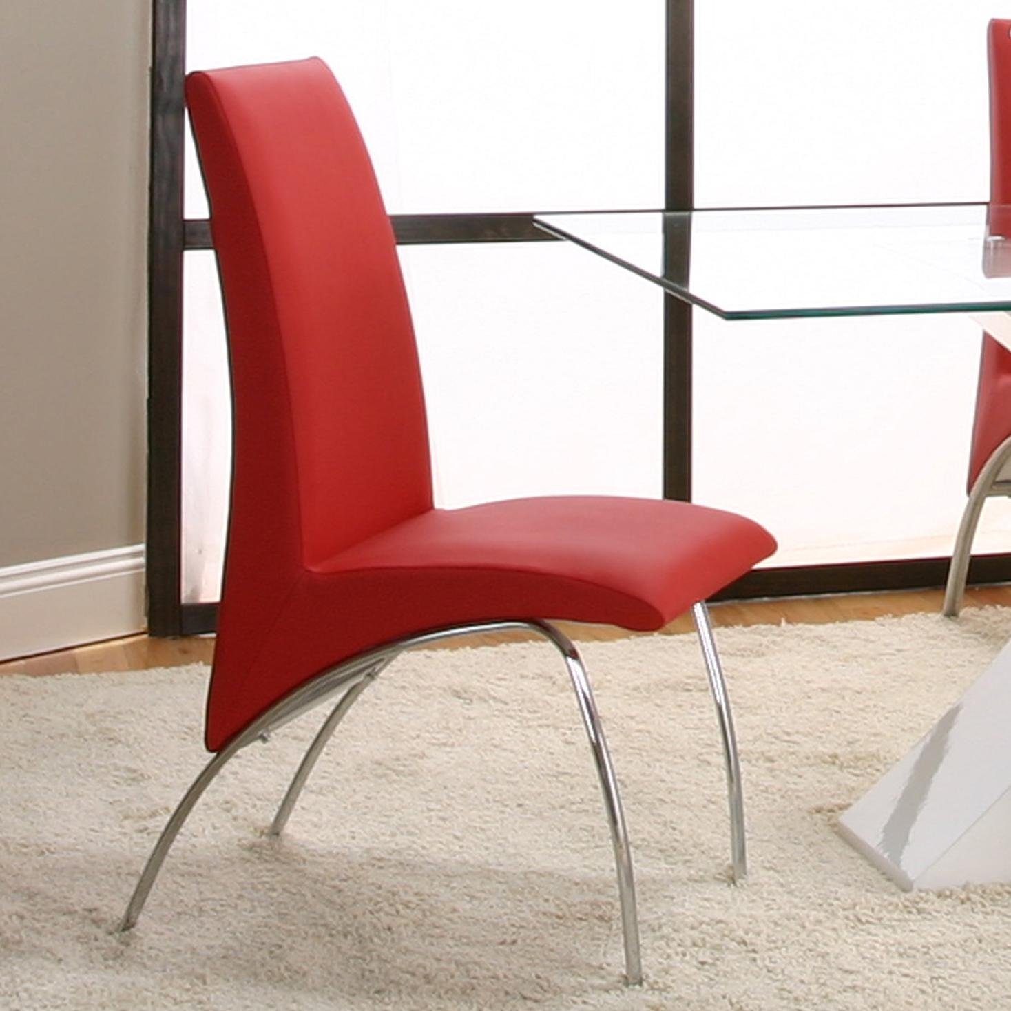 5 Piece Rectangular Glass Top Table with Black Base and Red Chairs
