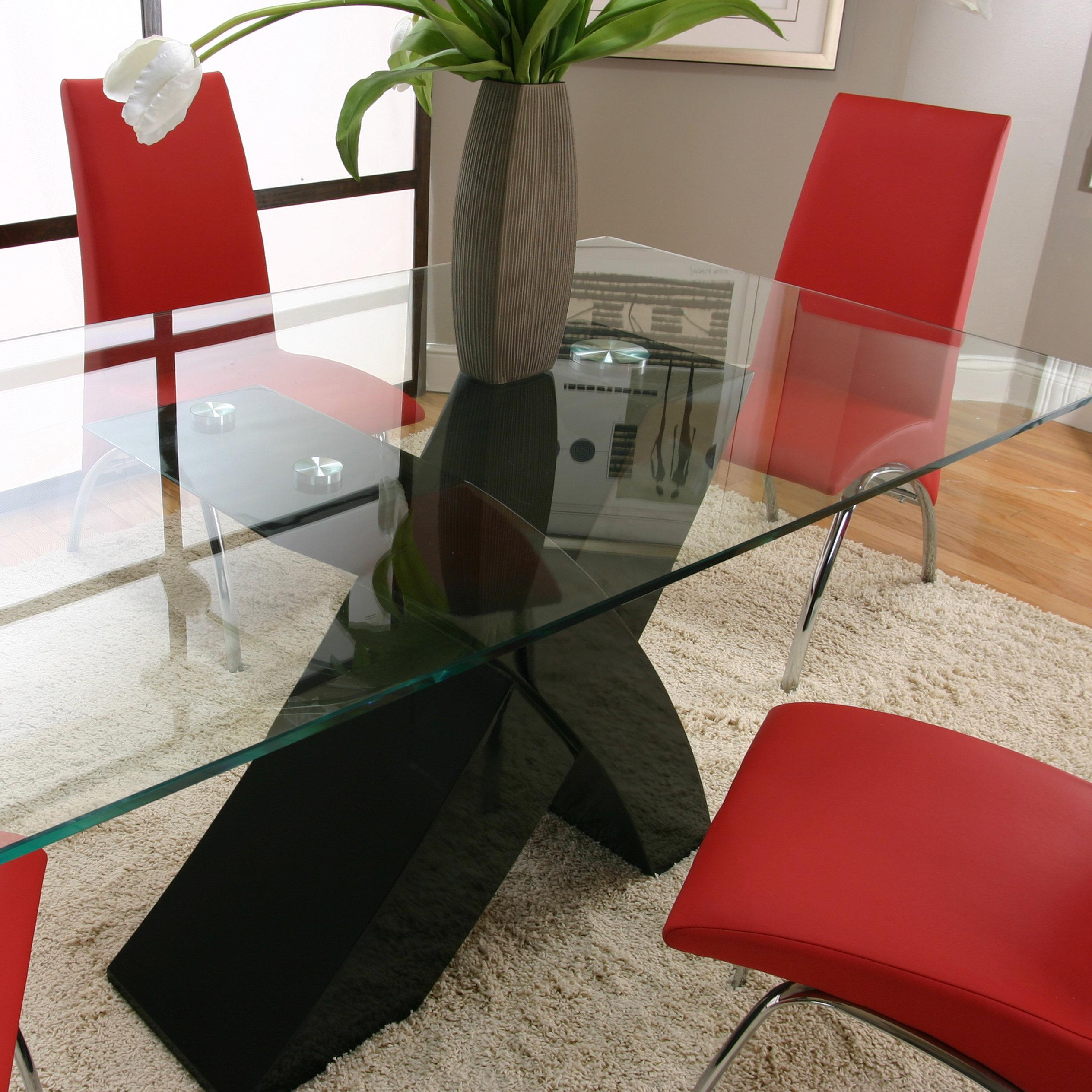Rectangular Glass Table Top With Black Base