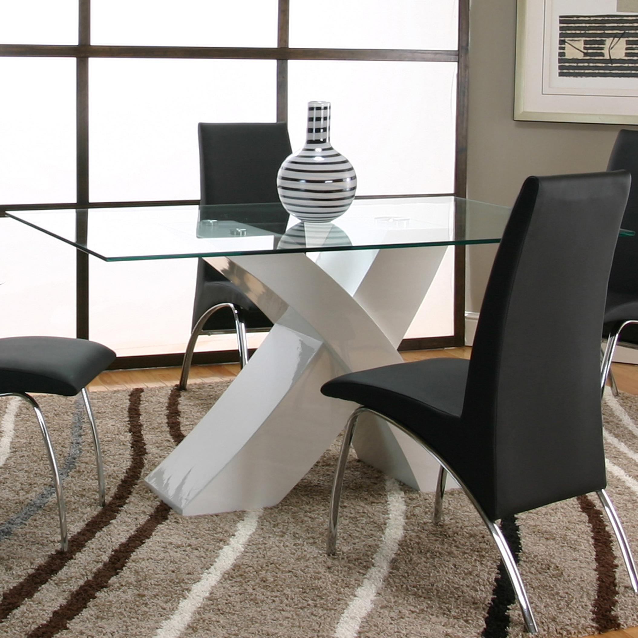 Rectangular Tempered Glass Table Top With Polyester/Polyurethane White Base