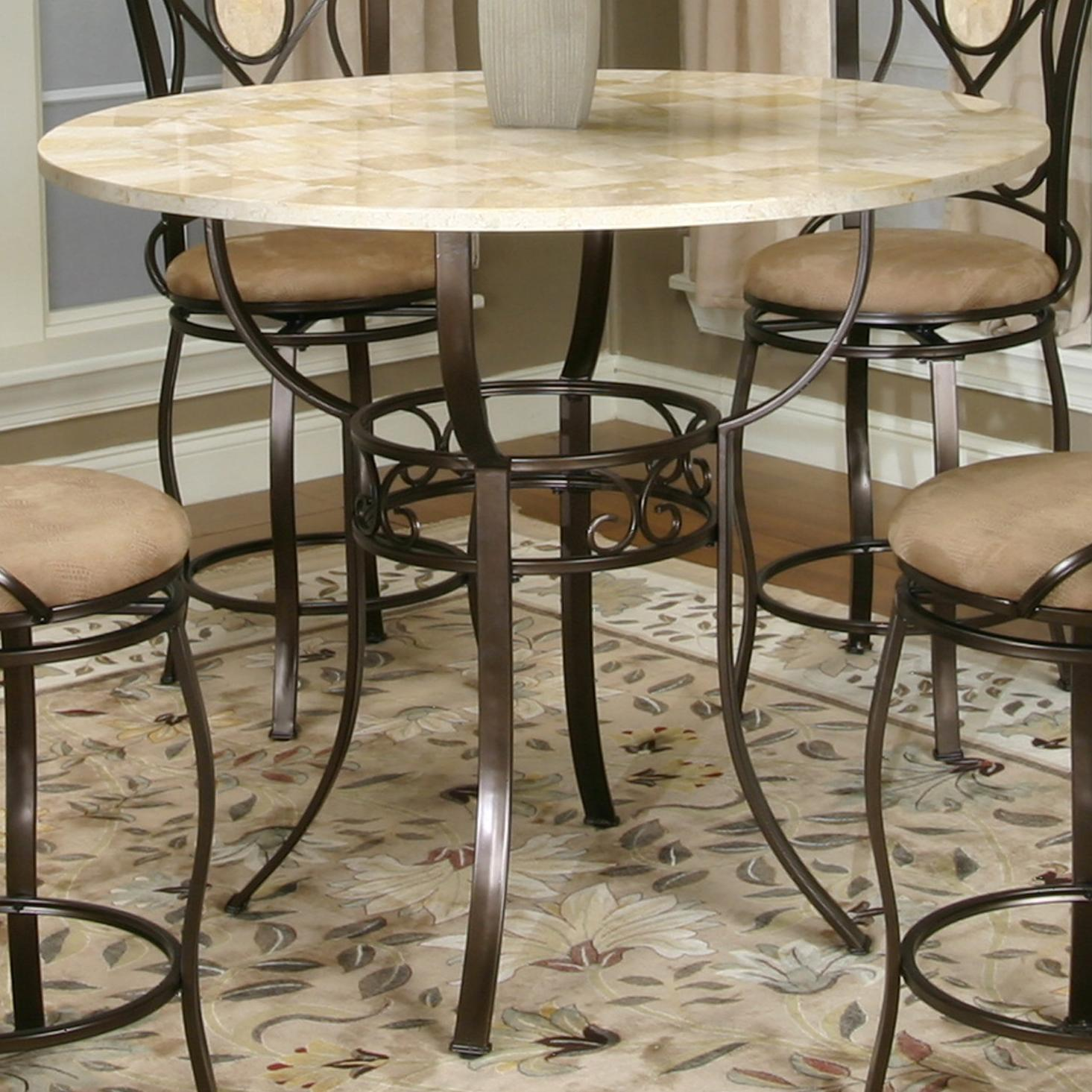 Bronze Counter Height Pub Table With Round Glacier Inlaid