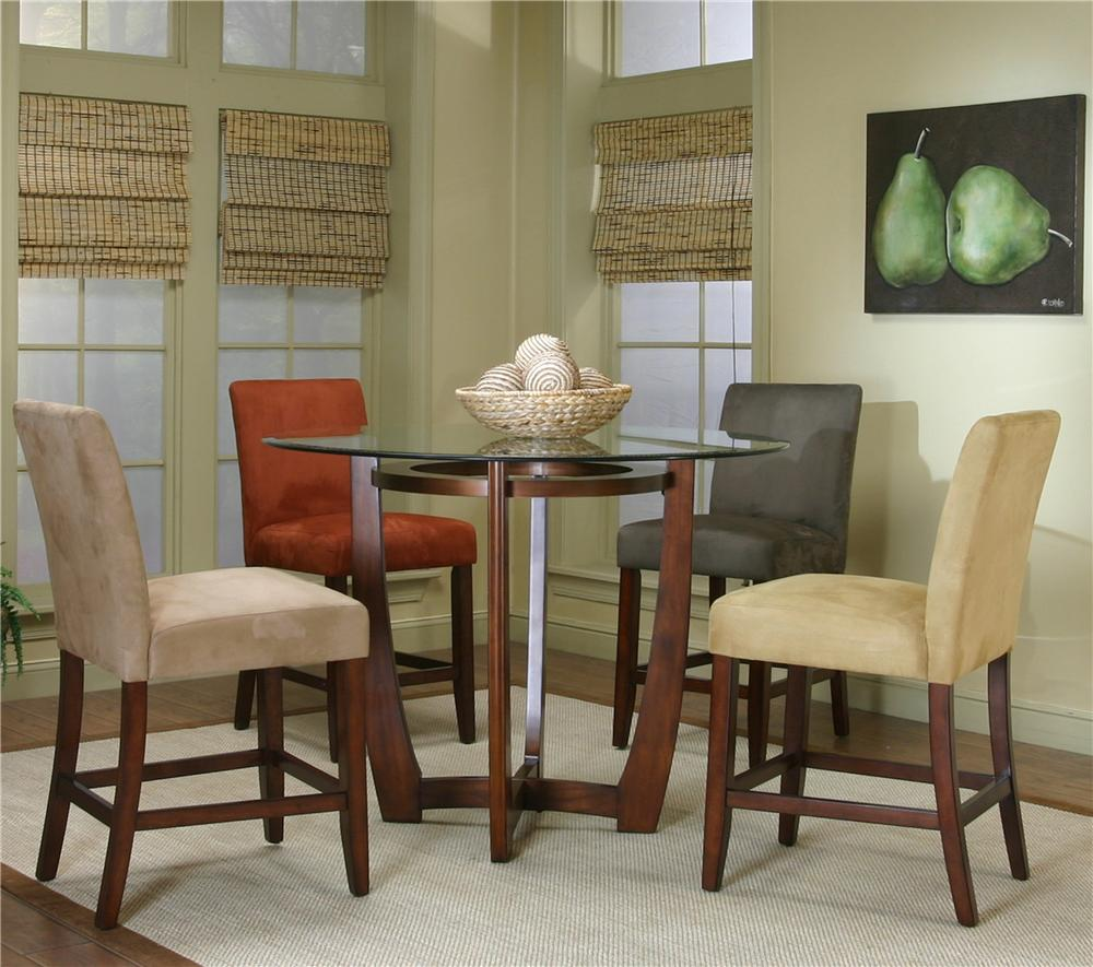 Round Counter Height Dining Table with Micro-Suede Chair Set by ...