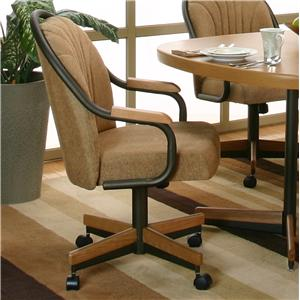 Espresso Harvest Chenille Upholstered Dining Arm Chair With Tilt Swivel Base