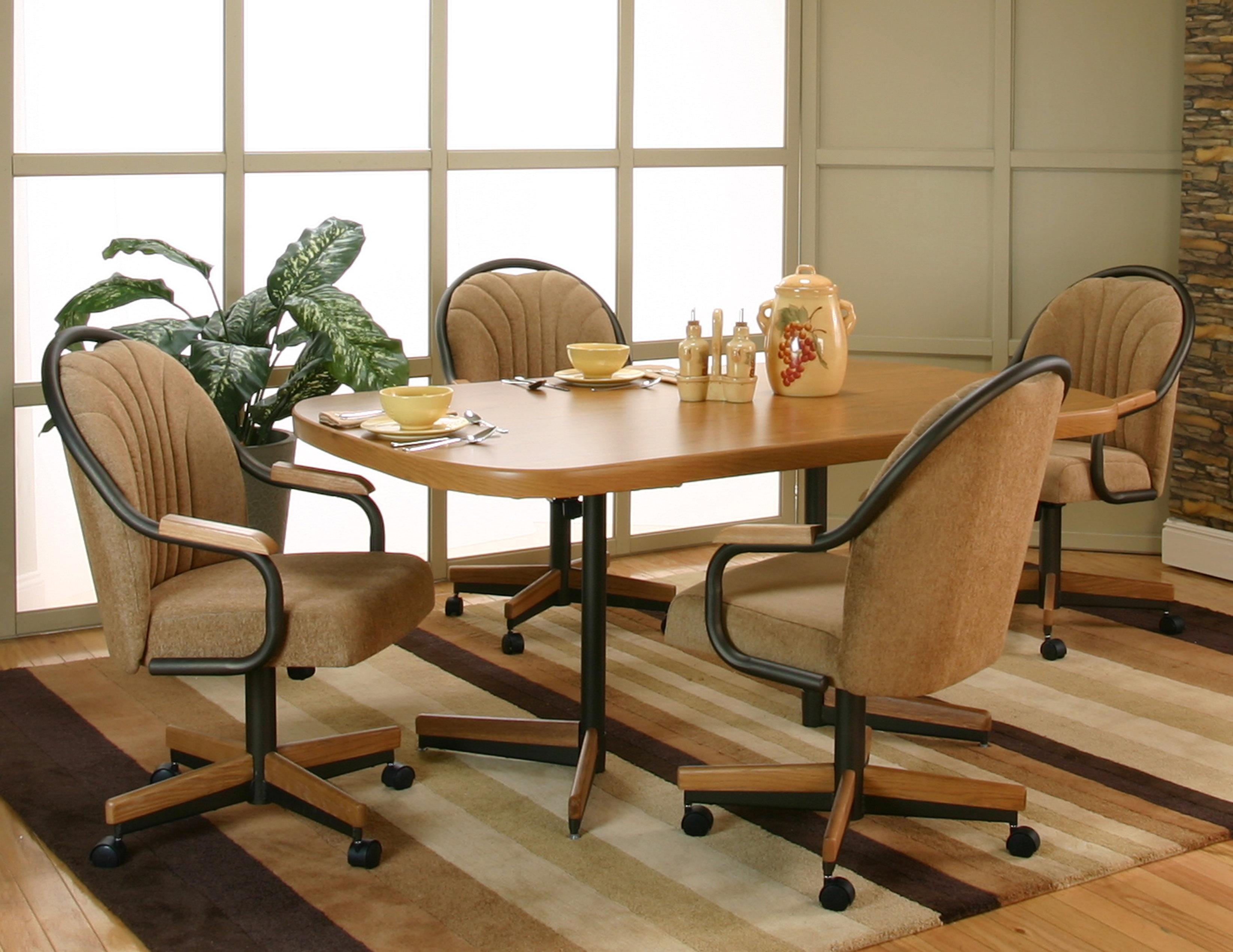 Bow end sunset oak laminate dining table with 4 honey harvest upholstered tilt swivel