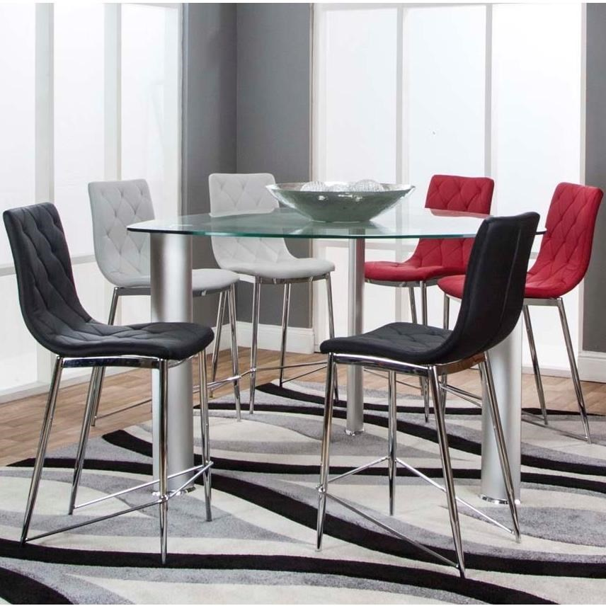 54 Triangle Glass Top Counter Height Dining Table And Stool Set By