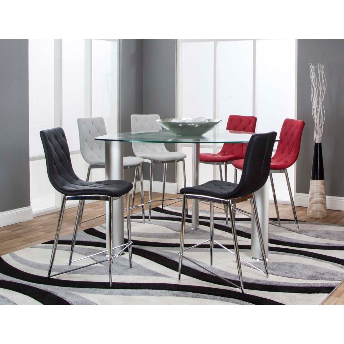 """54"""" Triangle Glass Top Counter Height Dining Table by Cramco Inc"""