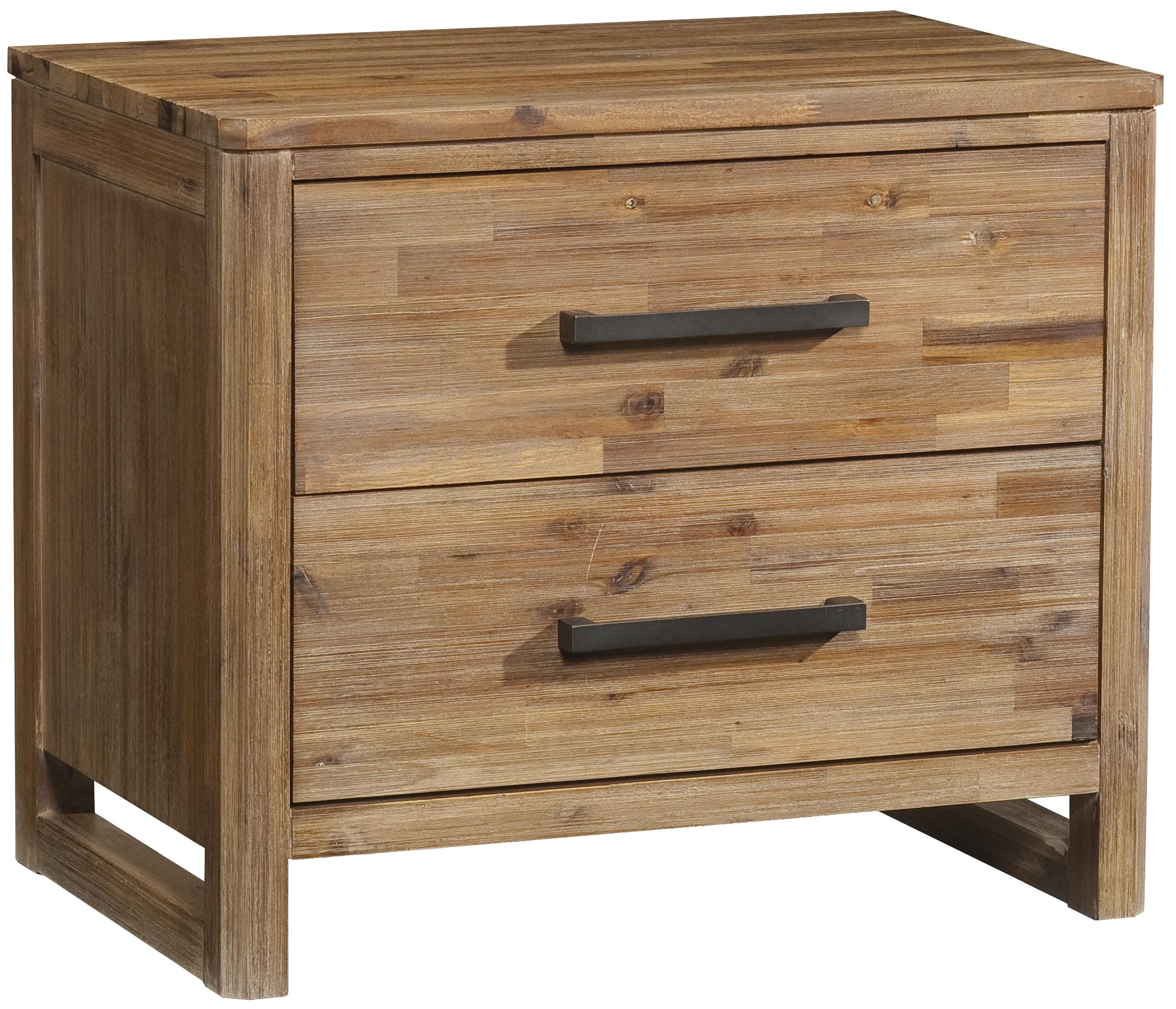 Two Drawer Modern Rustic Nightstand With Built In Power Strip