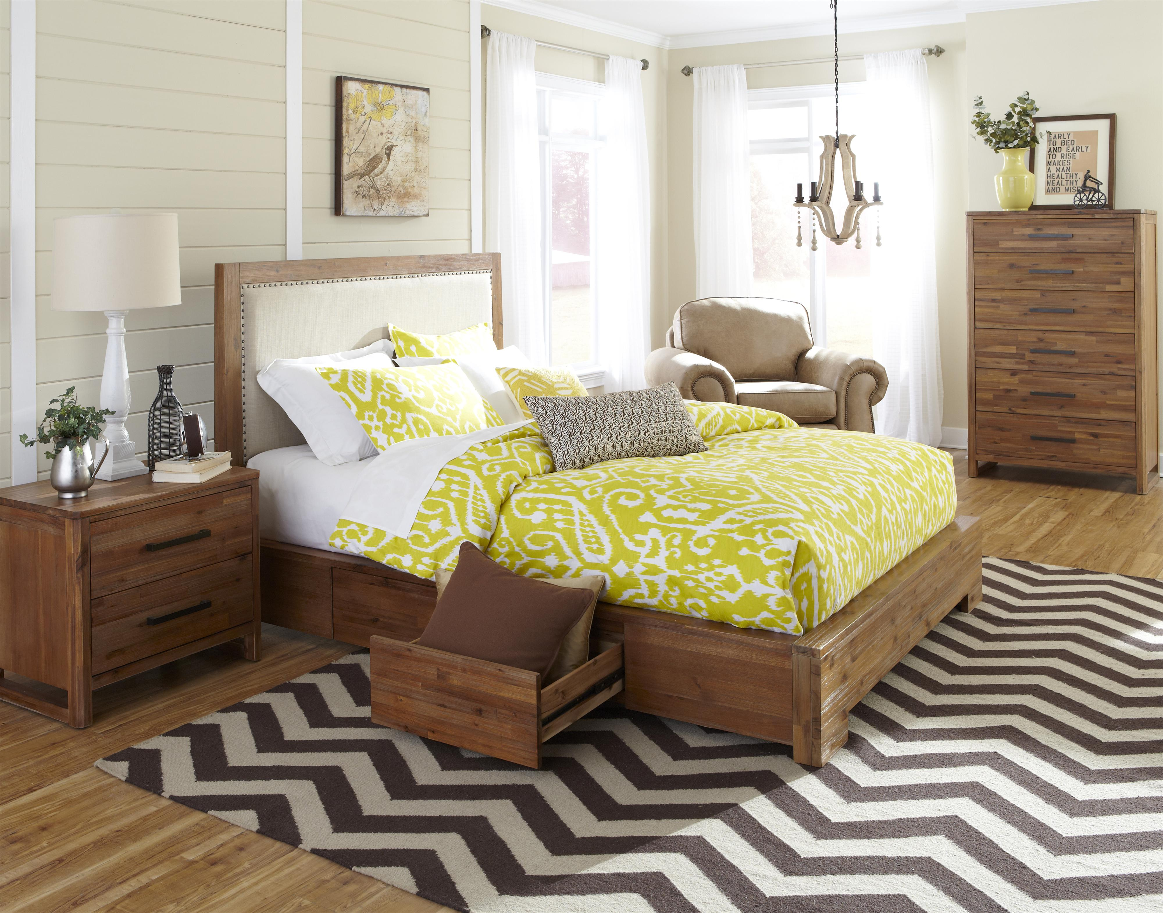 king upholstered bed w storage