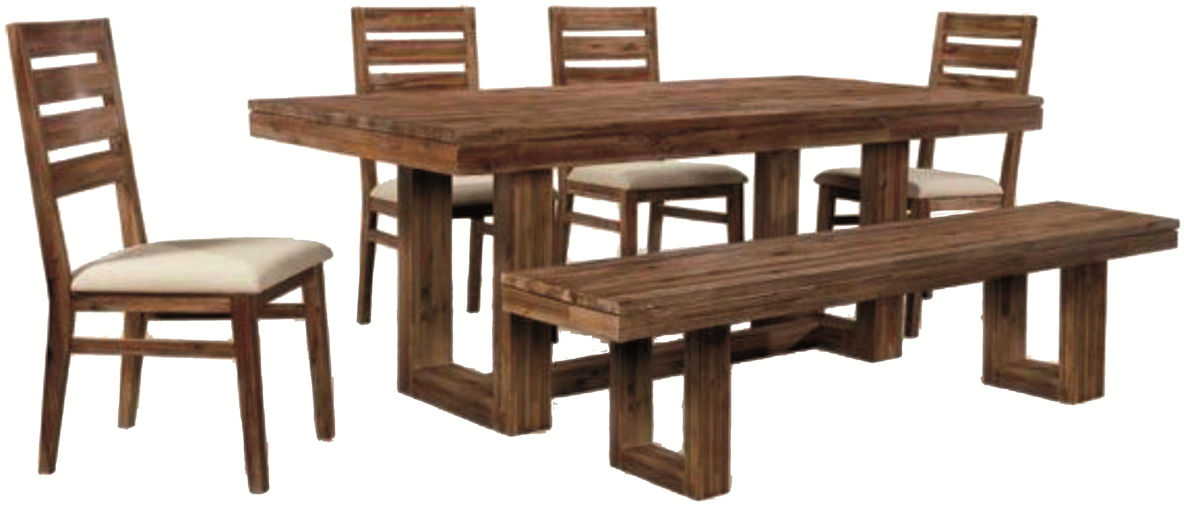 Six piece modern rustic rectangular trestle table with ladderback side chairs dining bench set Dining table and bench set