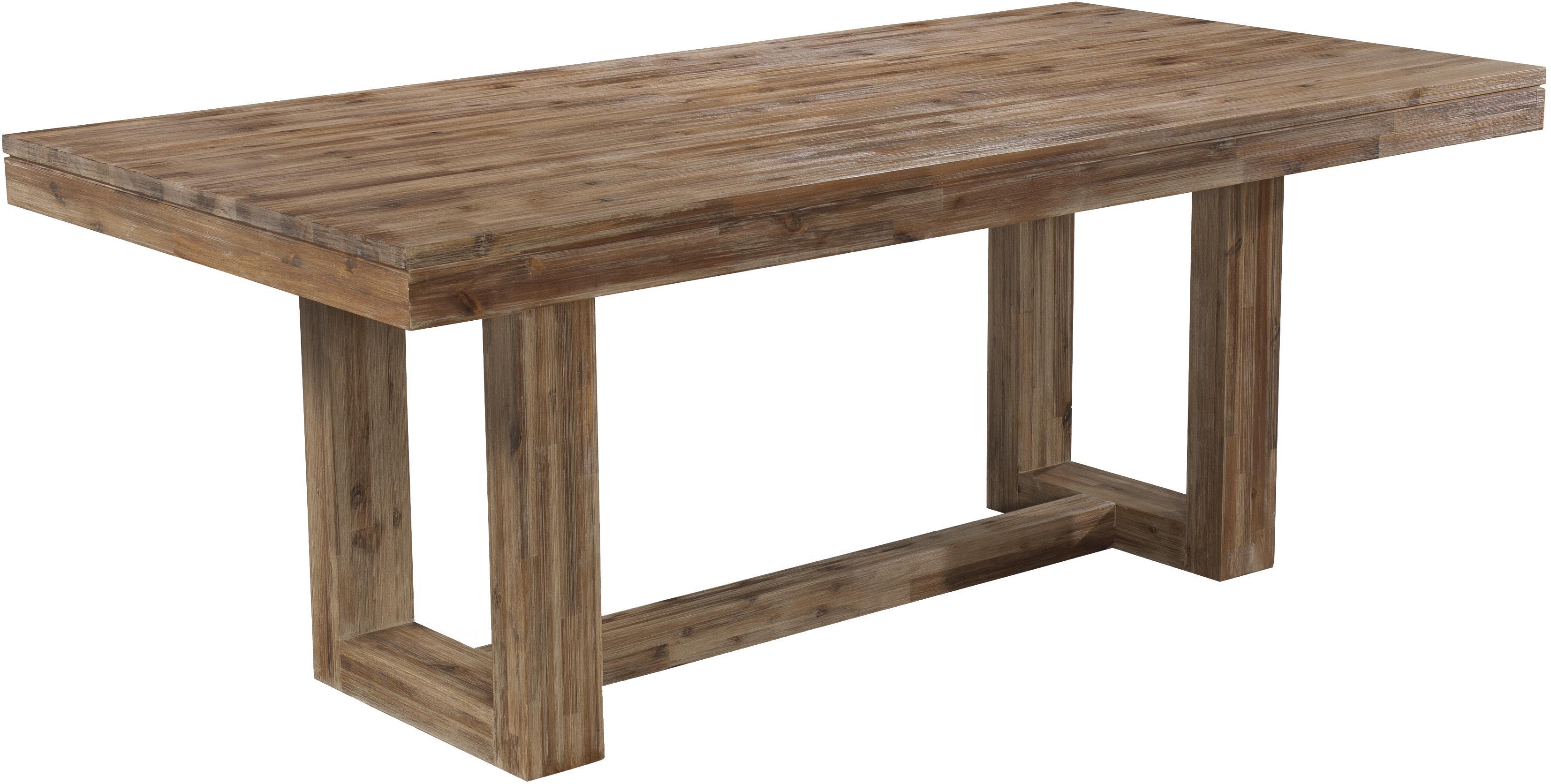 Six-Piece Modern-Rustic Rectangular Trestle Table with Ladderback ...