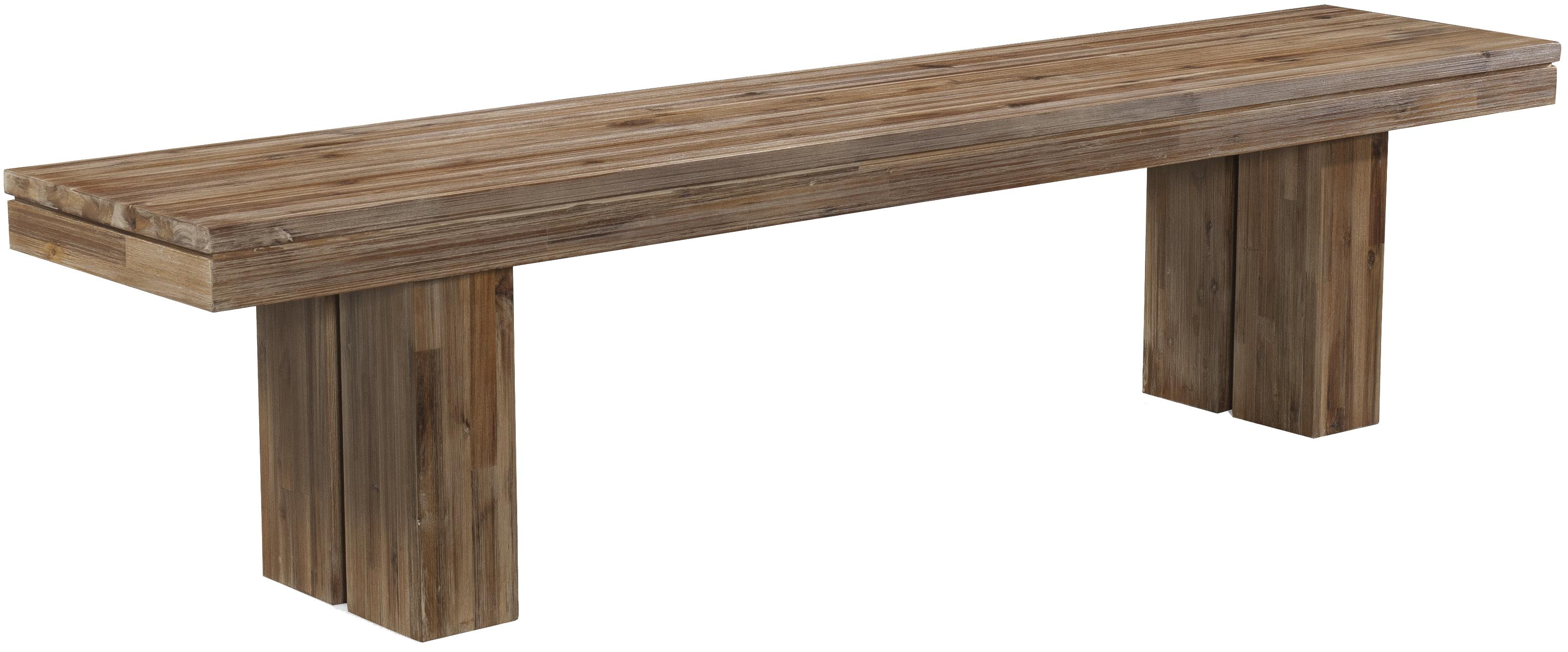 Acacia Wood Modern Rustic Dining Bench with Rectangular Leg Base