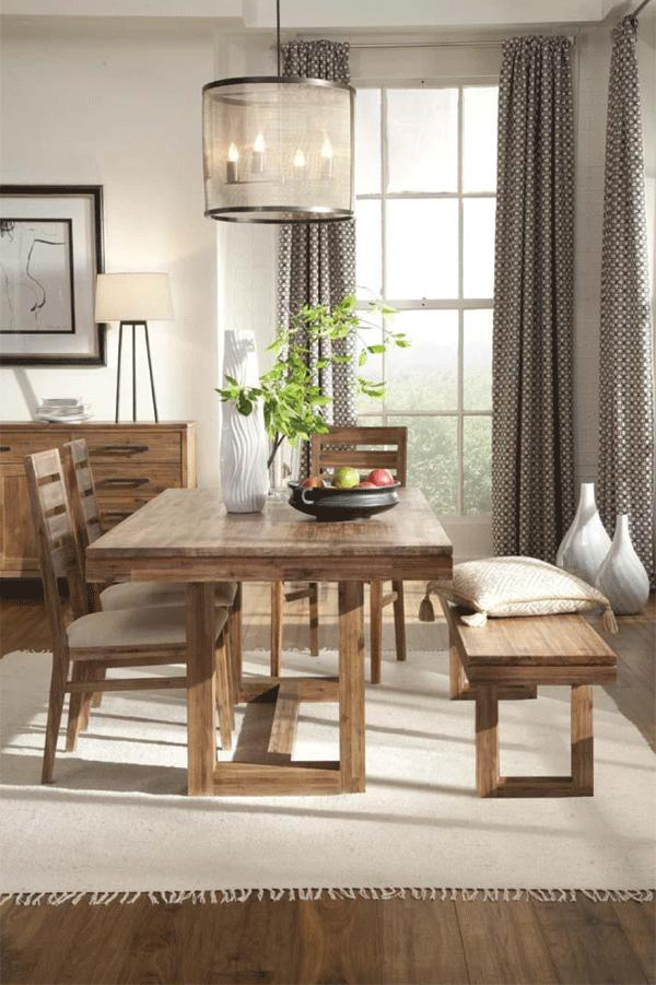 Modern Rustic Dining Room Sets acacia wood modern-rustic dining bench with rectangular leg base