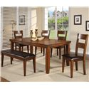 CM Figaro 6 Piece Dining Table Set - Item Number: 2701-4278+2101BENCH+4x2101S